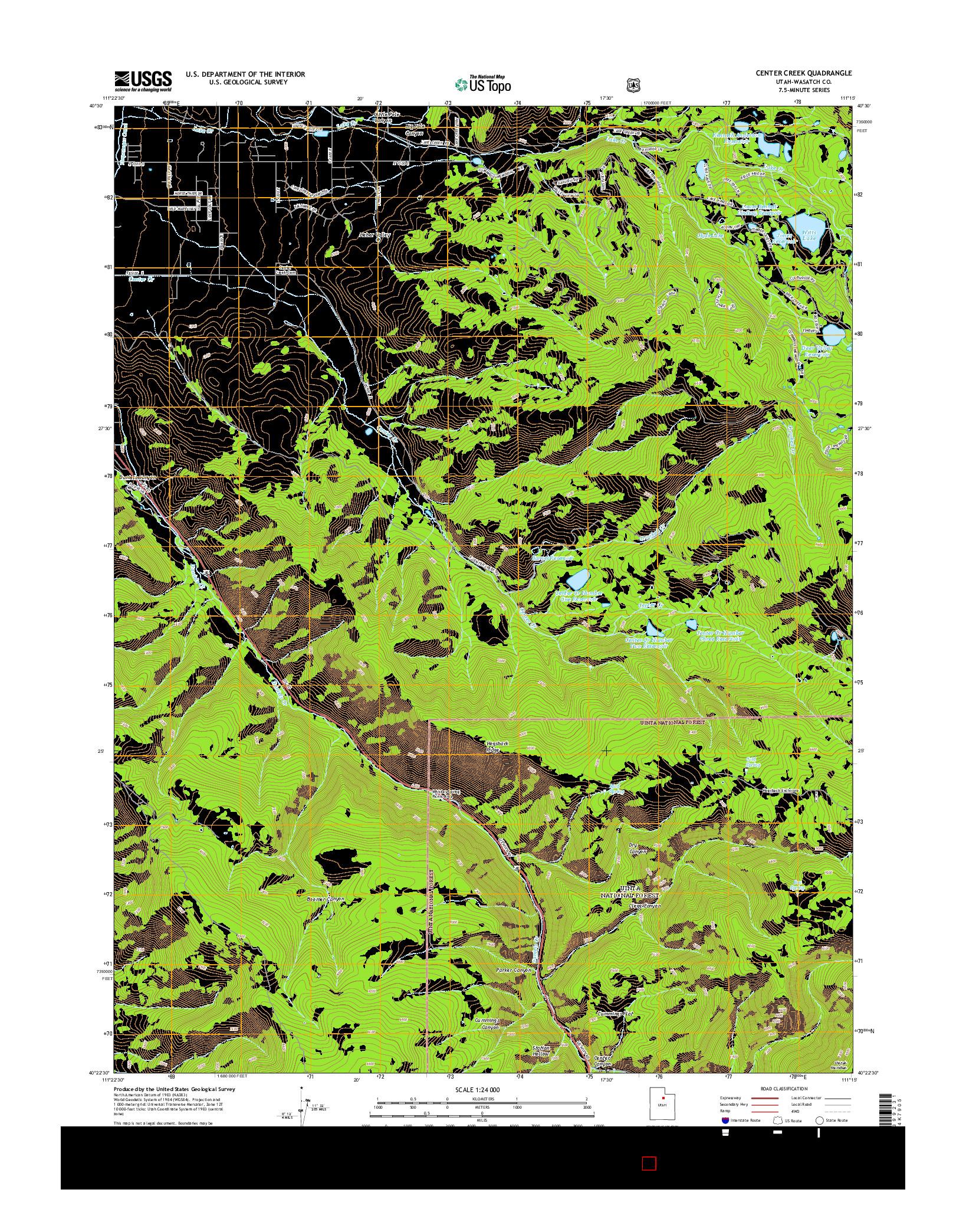USGS US TOPO 7.5-MINUTE MAP FOR CENTER CREEK, UT 2014