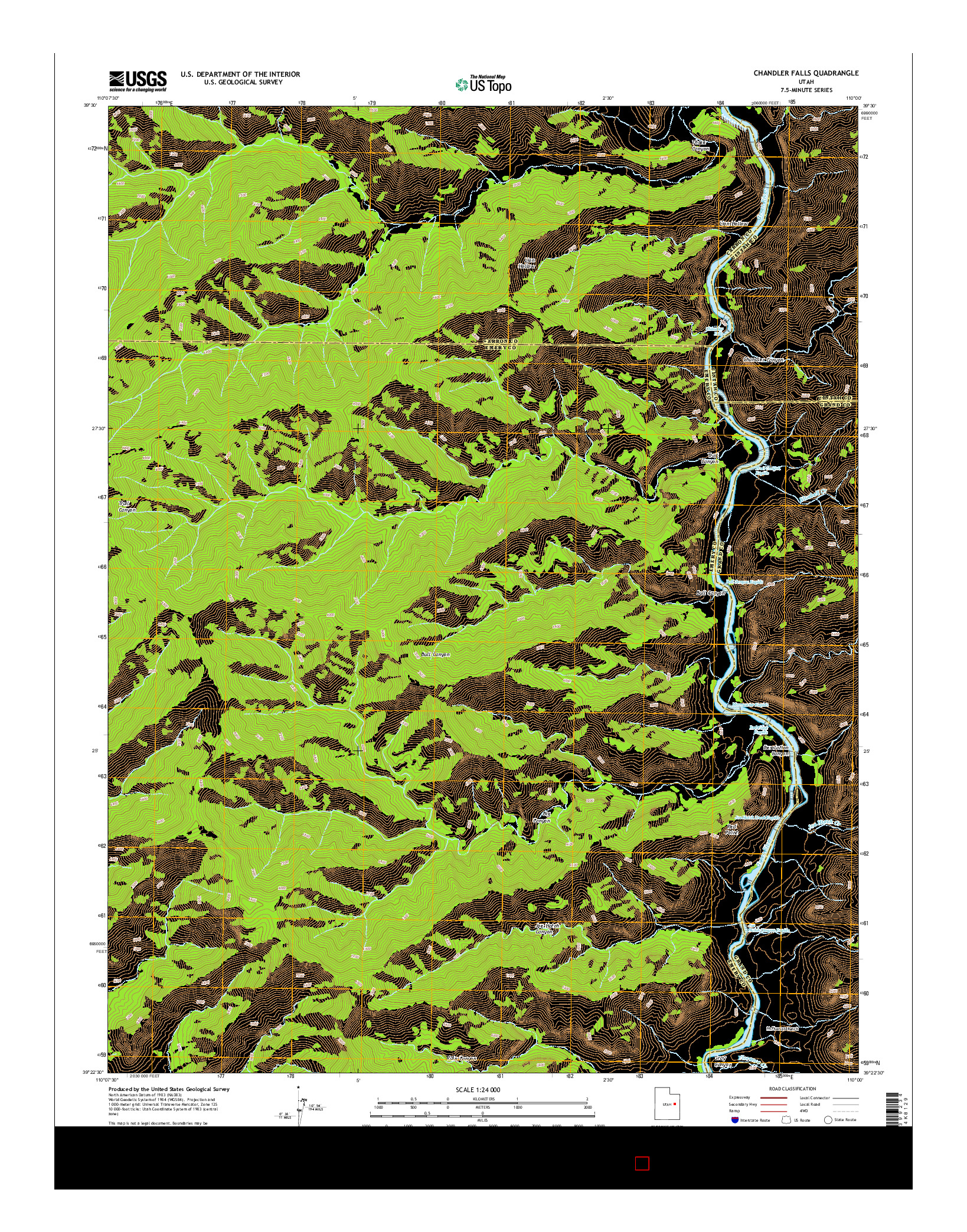 USGS US TOPO 7.5-MINUTE MAP FOR CHANDLER FALLS, UT 2014