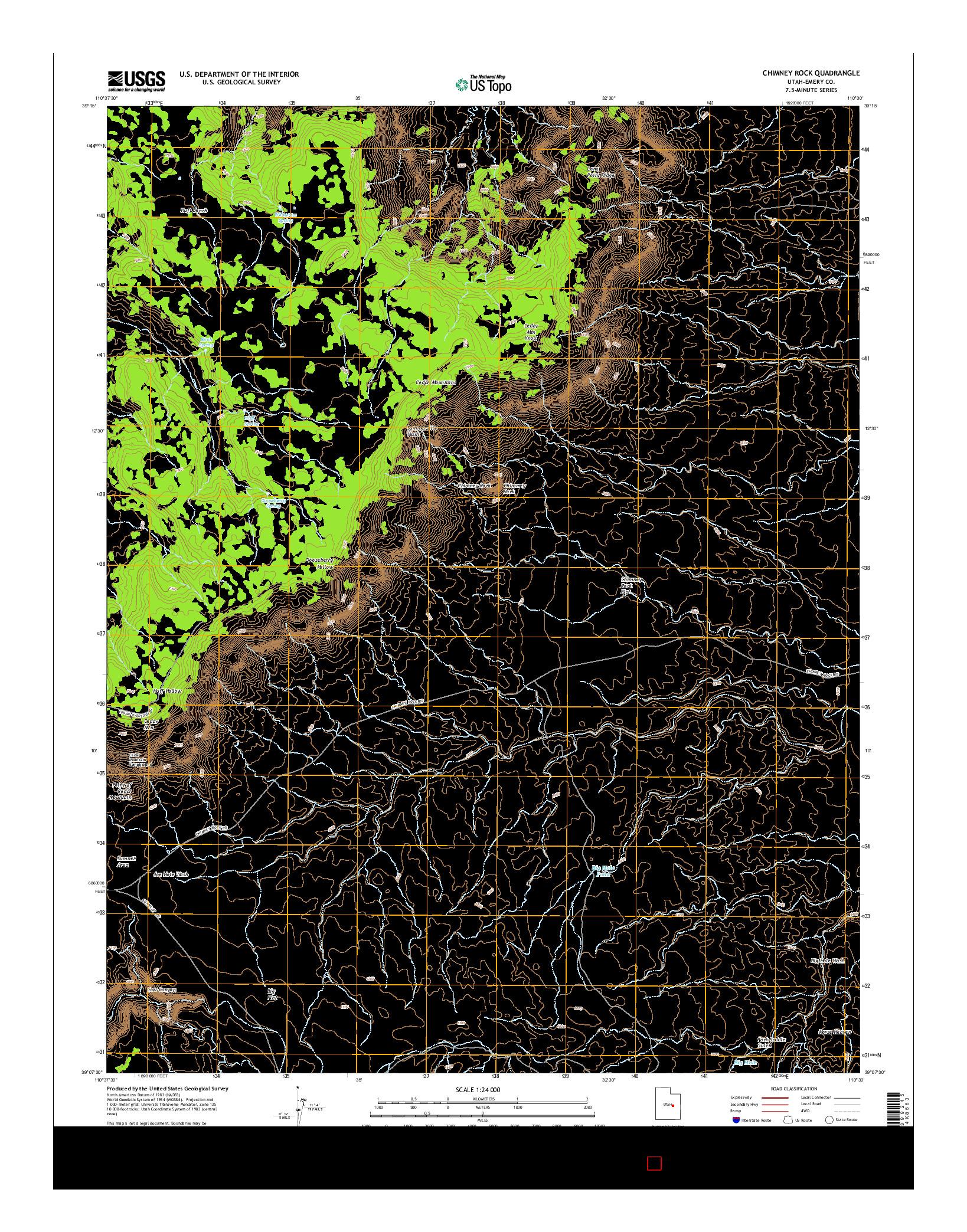 USGS US TOPO 7.5-MINUTE MAP FOR CHIMNEY ROCK, UT 2014