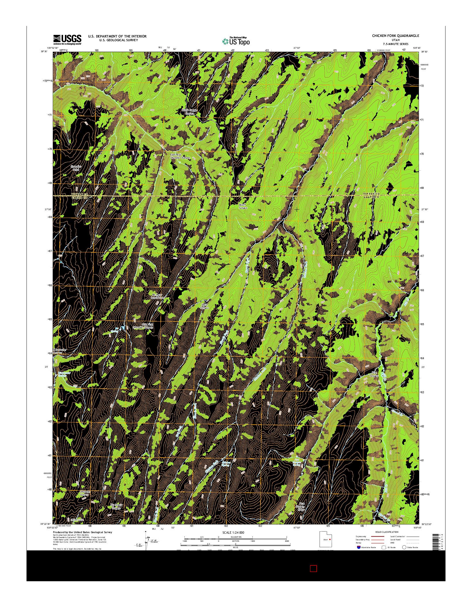 USGS US TOPO 7.5-MINUTE MAP FOR CHICKEN FORK, UT 2014