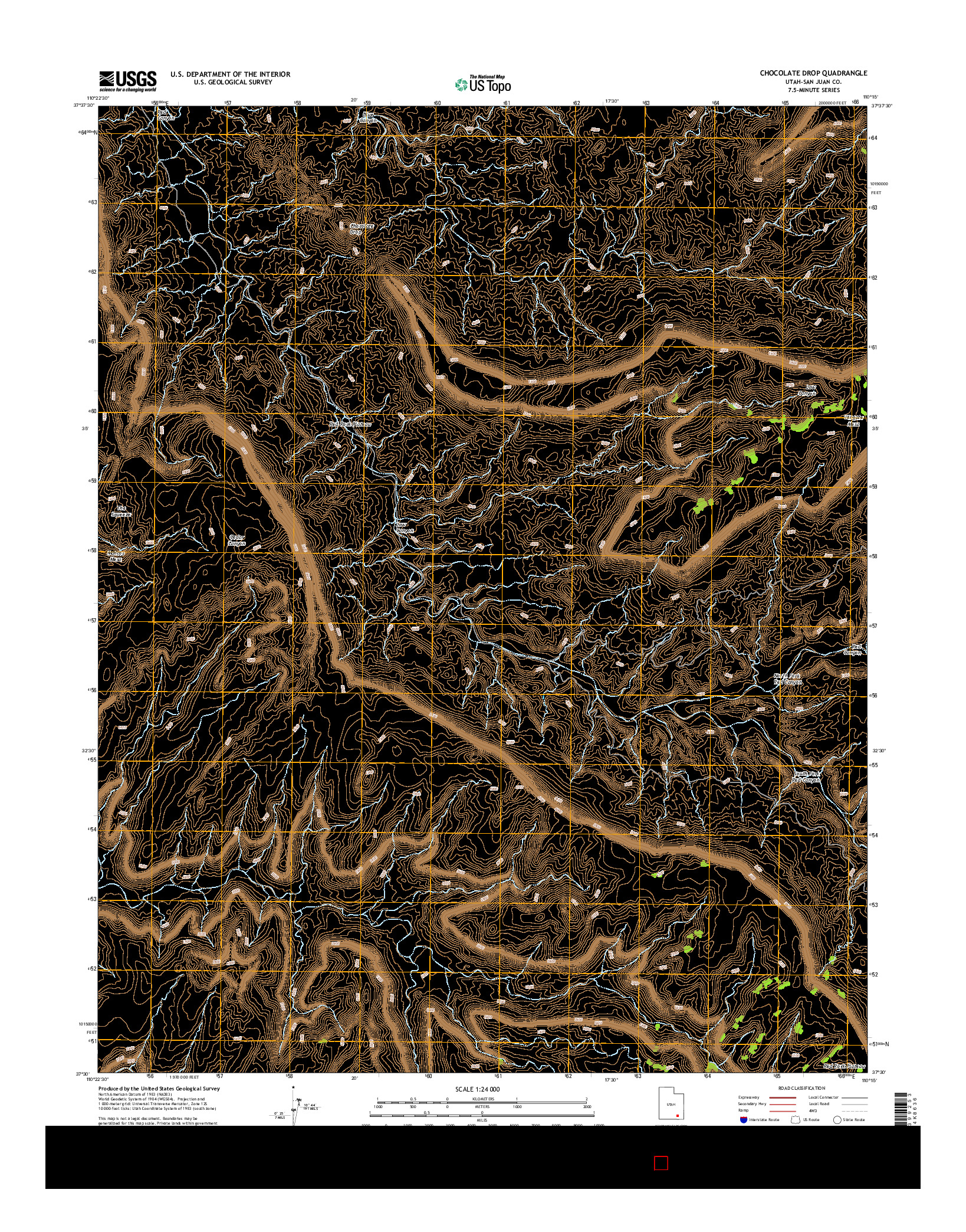 USGS US TOPO 7.5-MINUTE MAP FOR CHOCOLATE DROP, UT 2014