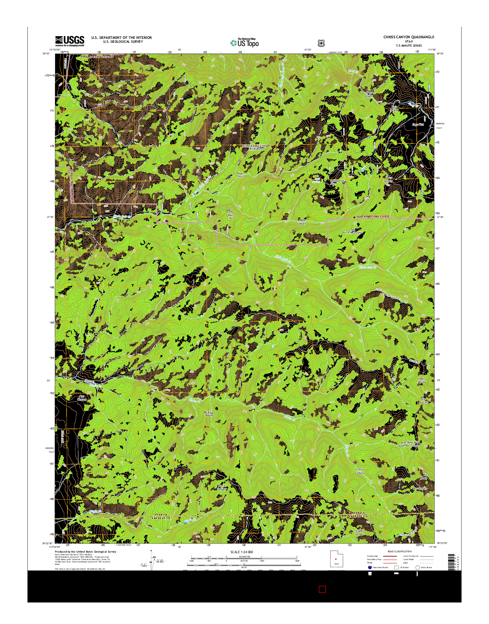 USGS US TOPO 7.5-MINUTE MAP FOR CHRISS CANYON, UT 2014