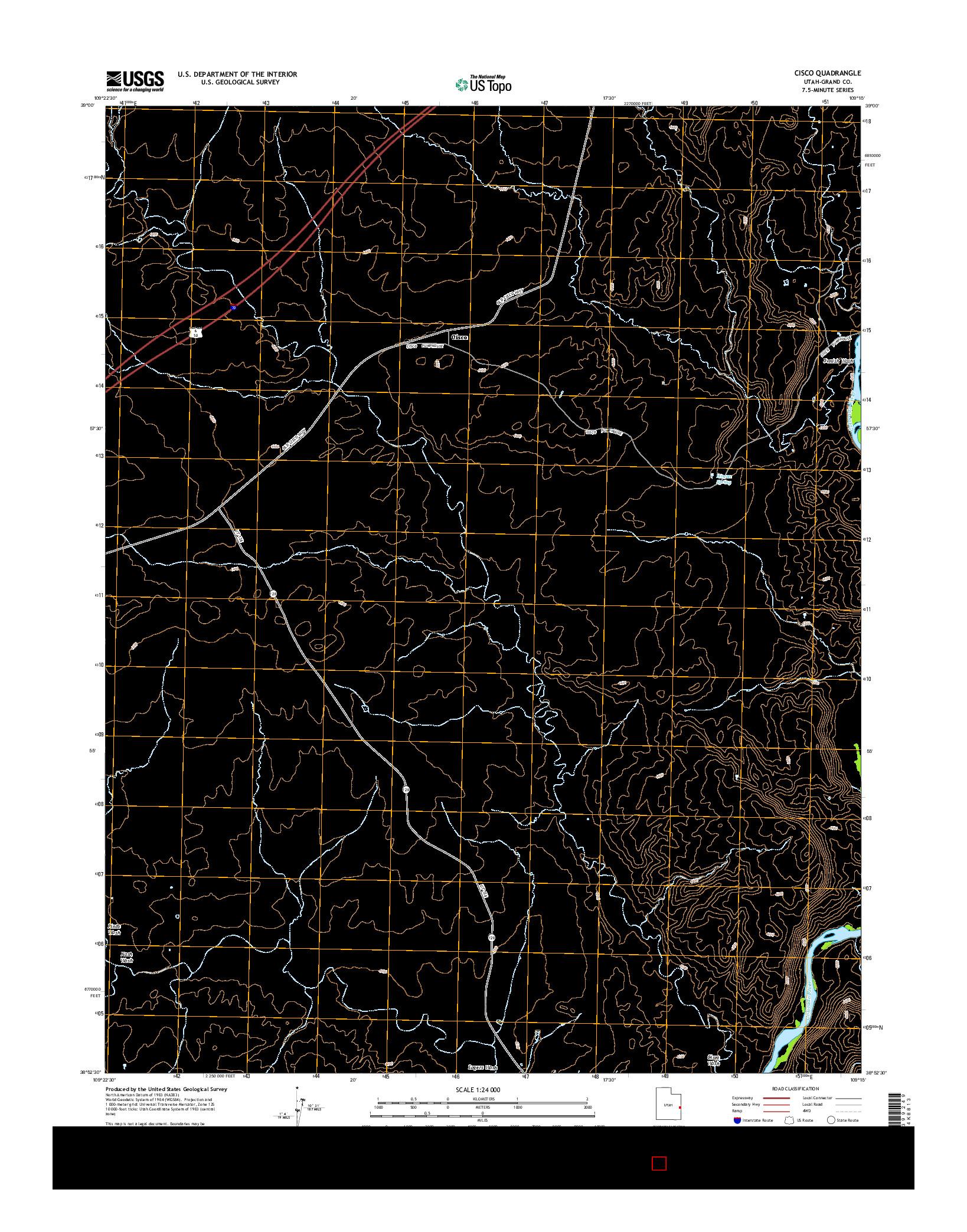 USGS US TOPO 7.5-MINUTE MAP FOR CISCO, UT 2014
