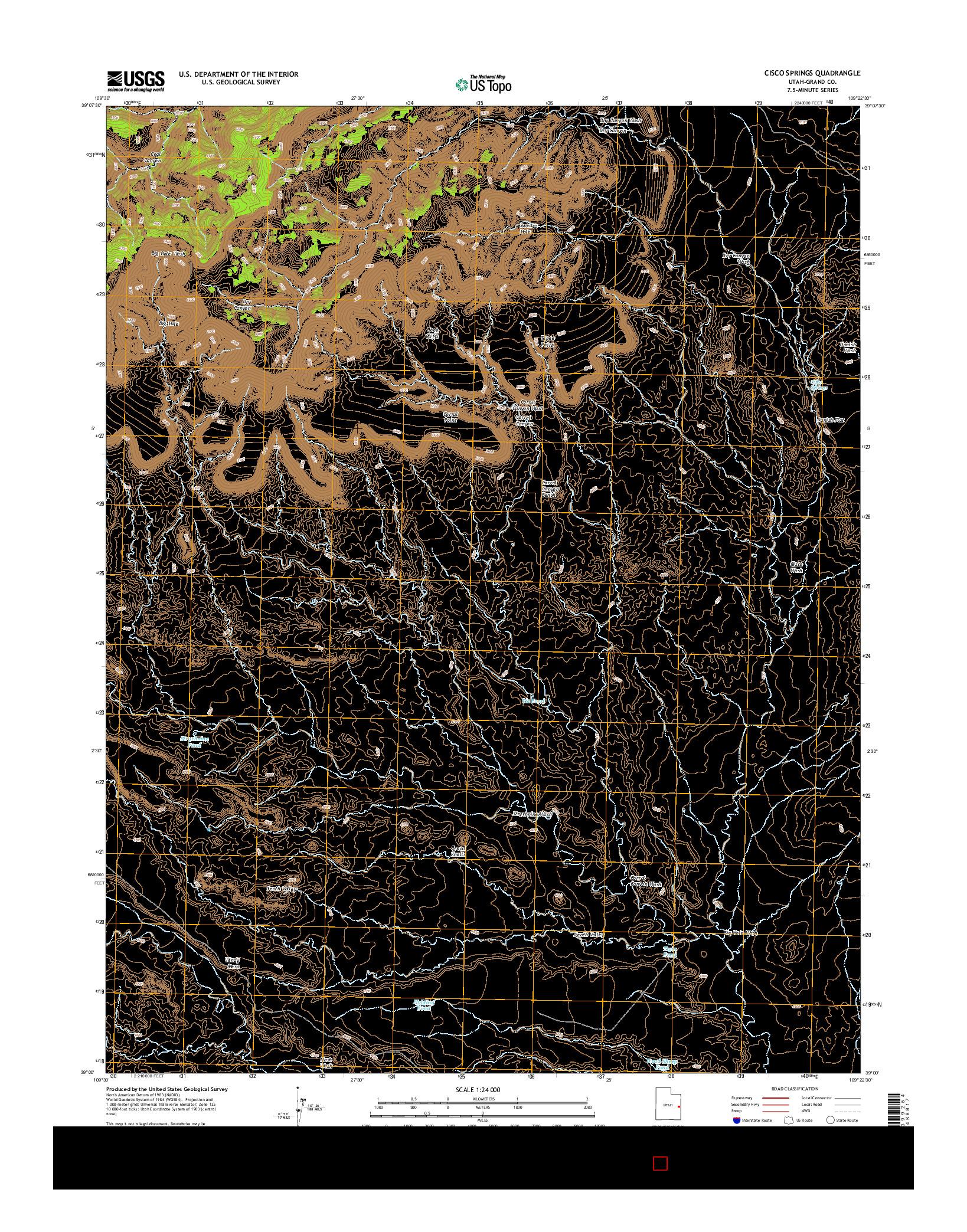 USGS US TOPO 7.5-MINUTE MAP FOR CISCO SPRINGS, UT 2014