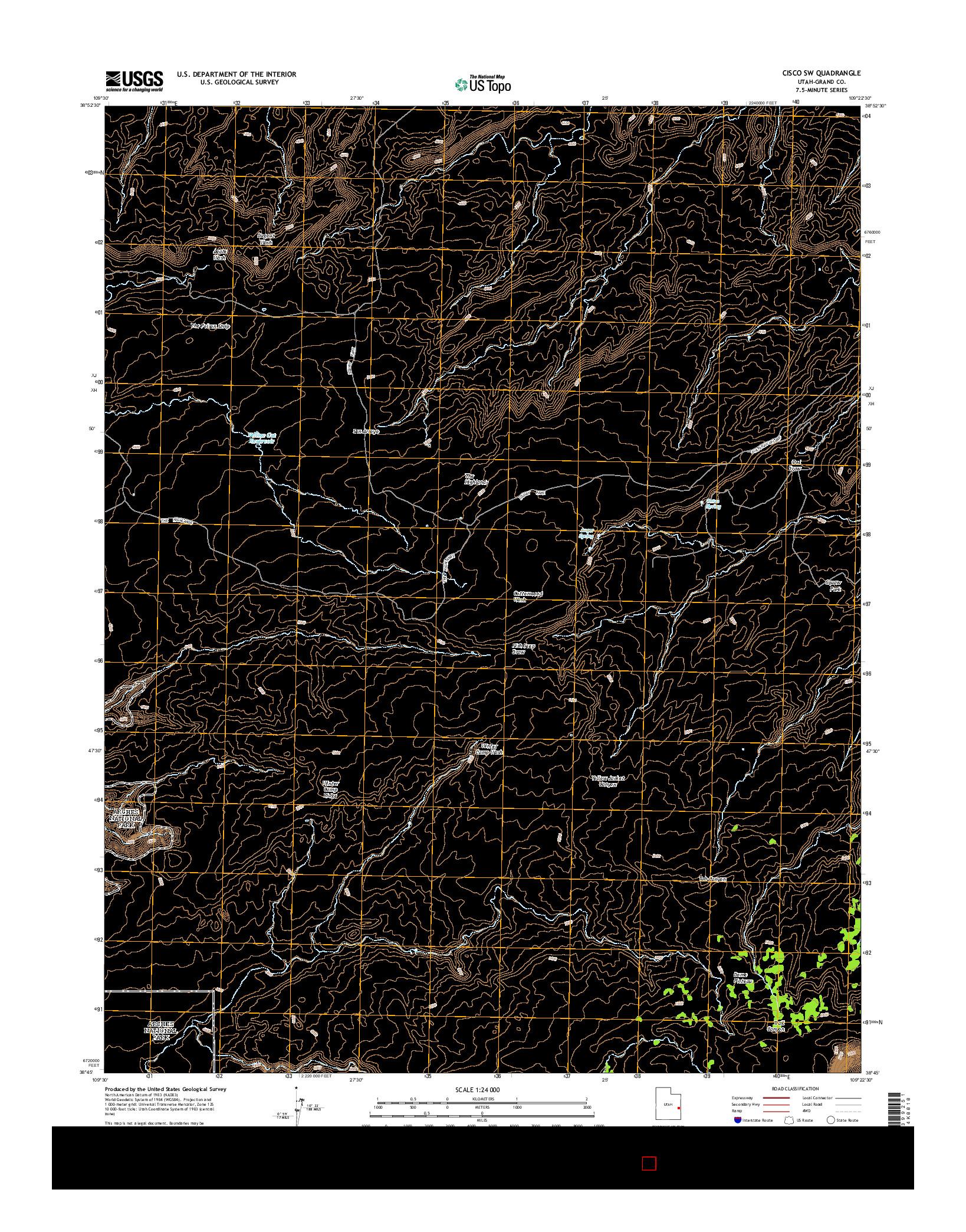 USGS US TOPO 7.5-MINUTE MAP FOR CISCO SW, UT 2014