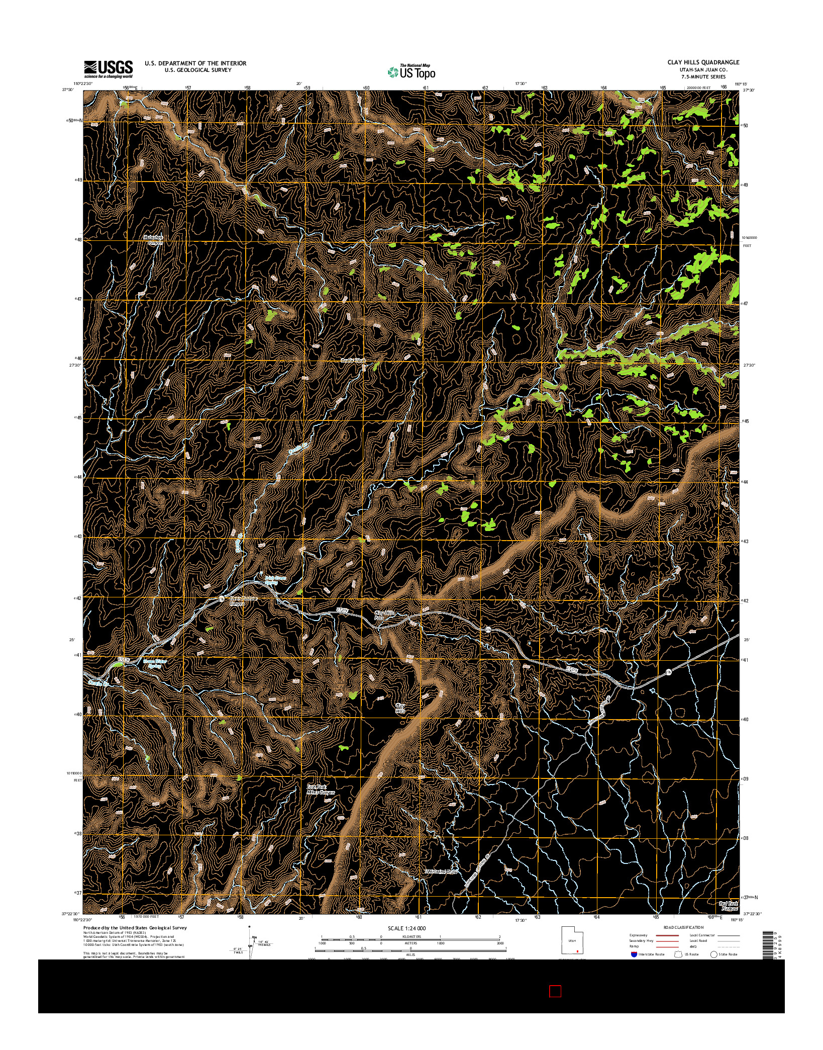 USGS US TOPO 7.5-MINUTE MAP FOR CLAY HILLS, UT 2014