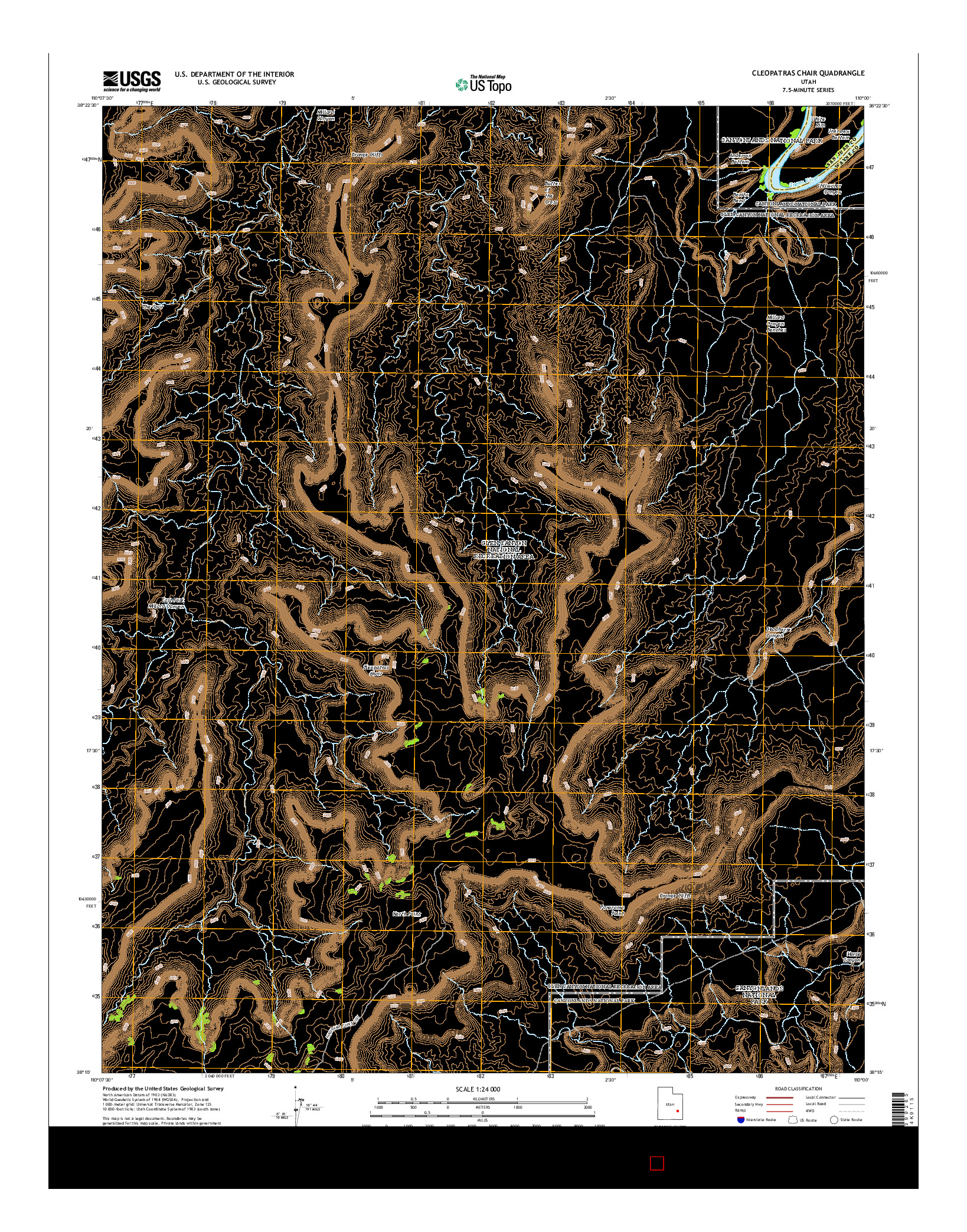 USGS US TOPO 7.5-MINUTE MAP FOR CLEOPATRAS CHAIR, UT 2014
