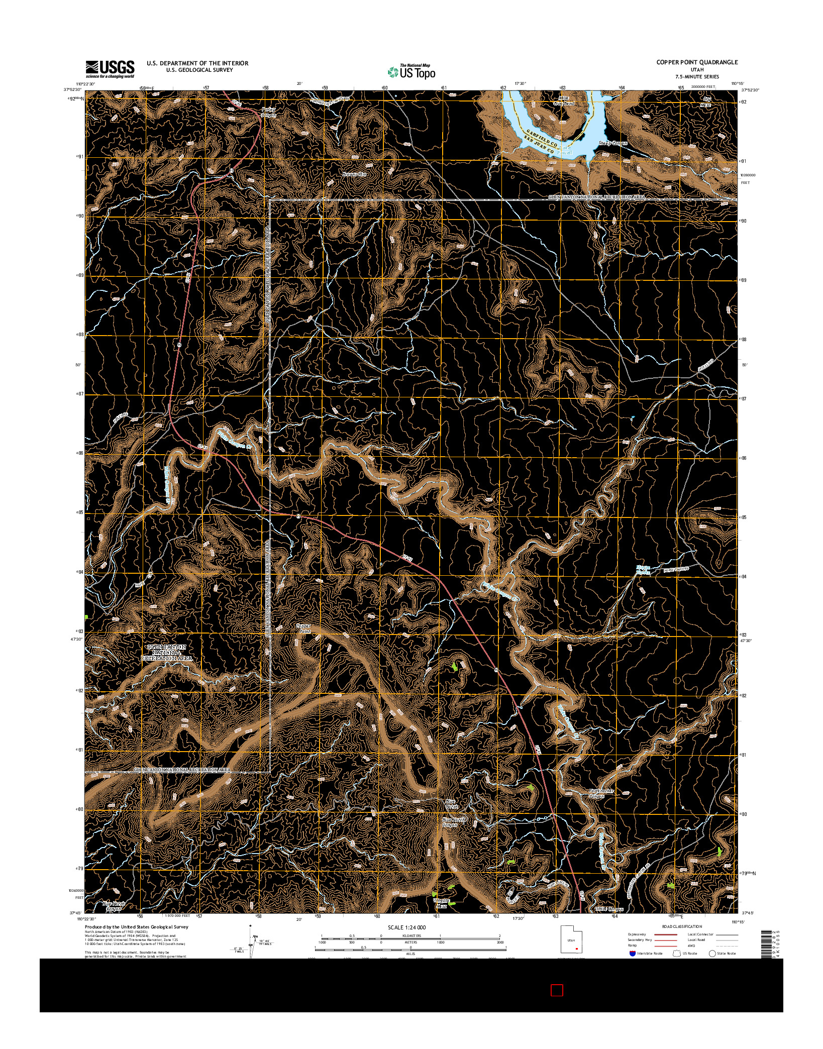 USGS US TOPO 7.5-MINUTE MAP FOR COPPER POINT, UT 2014