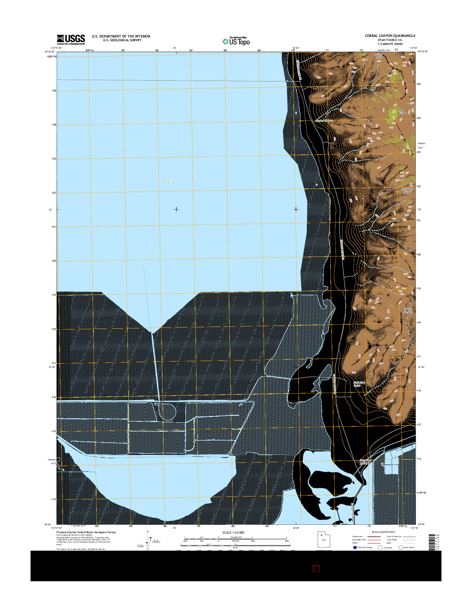 USGS US TOPO 7.5-MINUTE MAP FOR CORRAL CANYON, UT 2014
