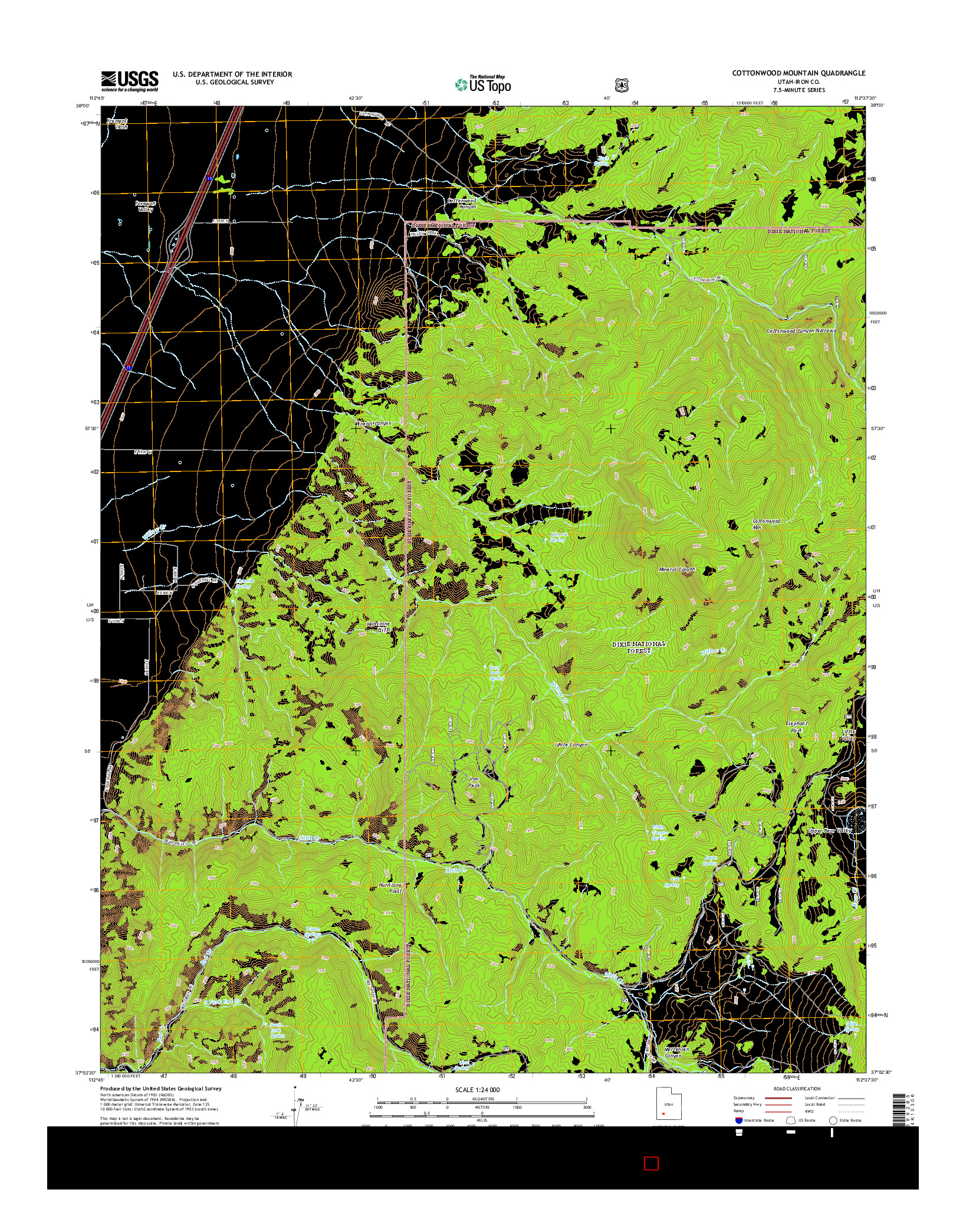 USGS US TOPO 7.5-MINUTE MAP FOR COTTONWOOD MOUNTAIN, UT 2014