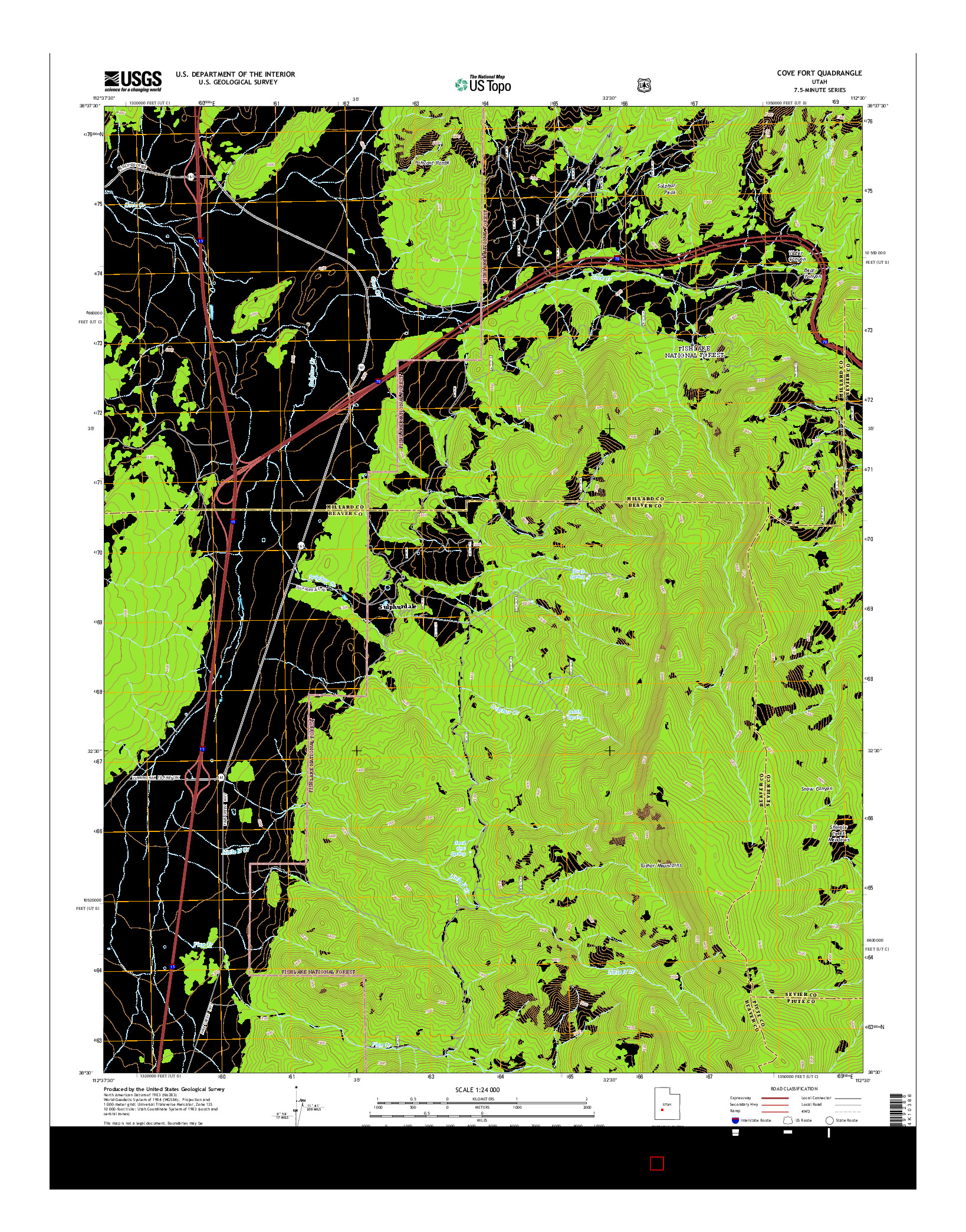USGS US TOPO 7.5-MINUTE MAP FOR COVE FORT, UT 2014