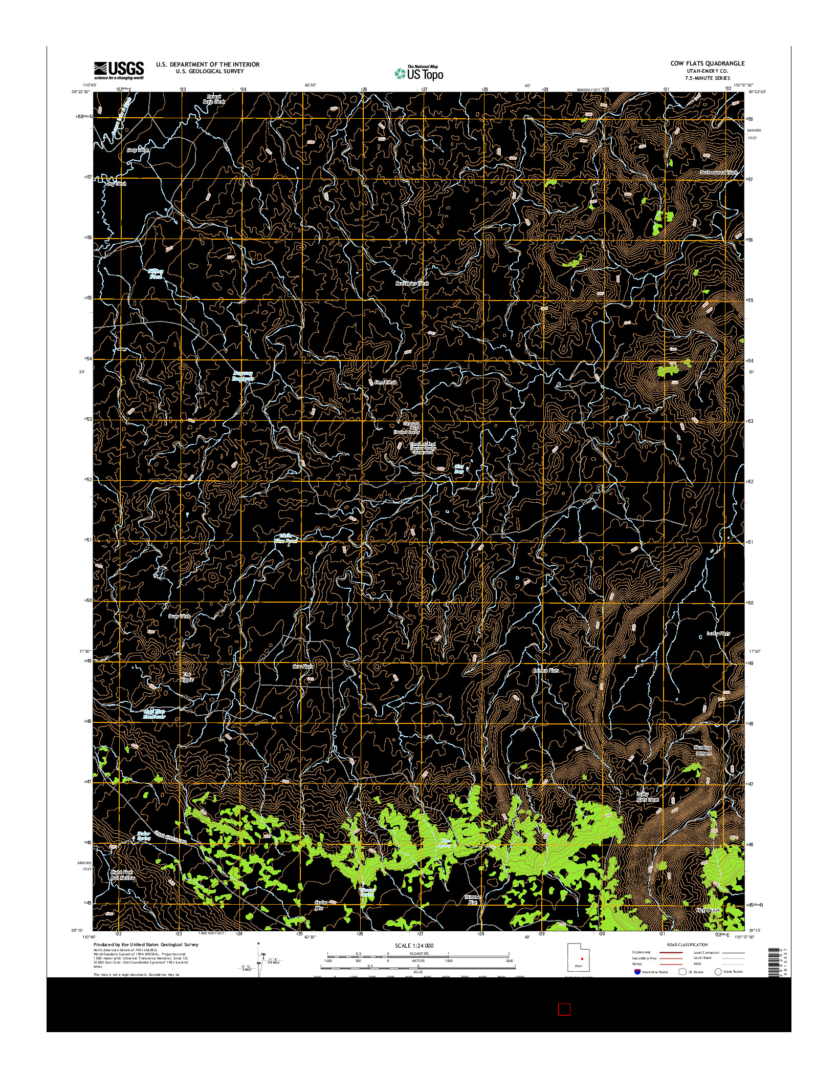 USGS US TOPO 7.5-MINUTE MAP FOR COW FLATS, UT 2014
