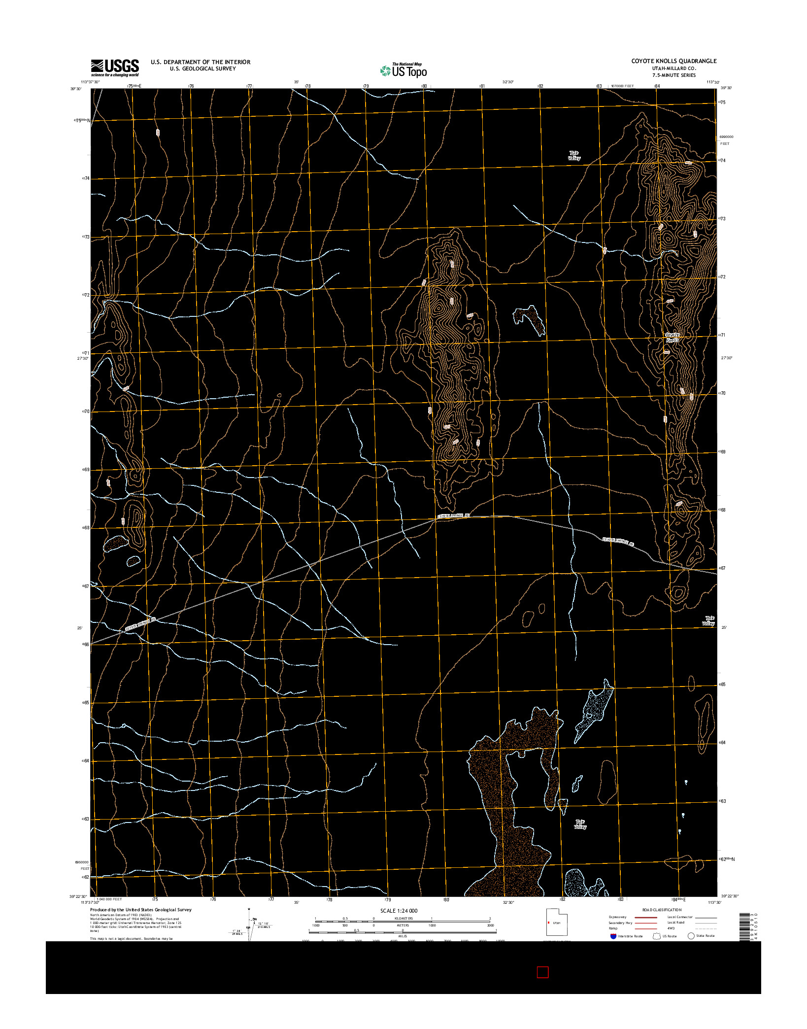 USGS US TOPO 7.5-MINUTE MAP FOR COYOTE KNOLLS, UT 2014