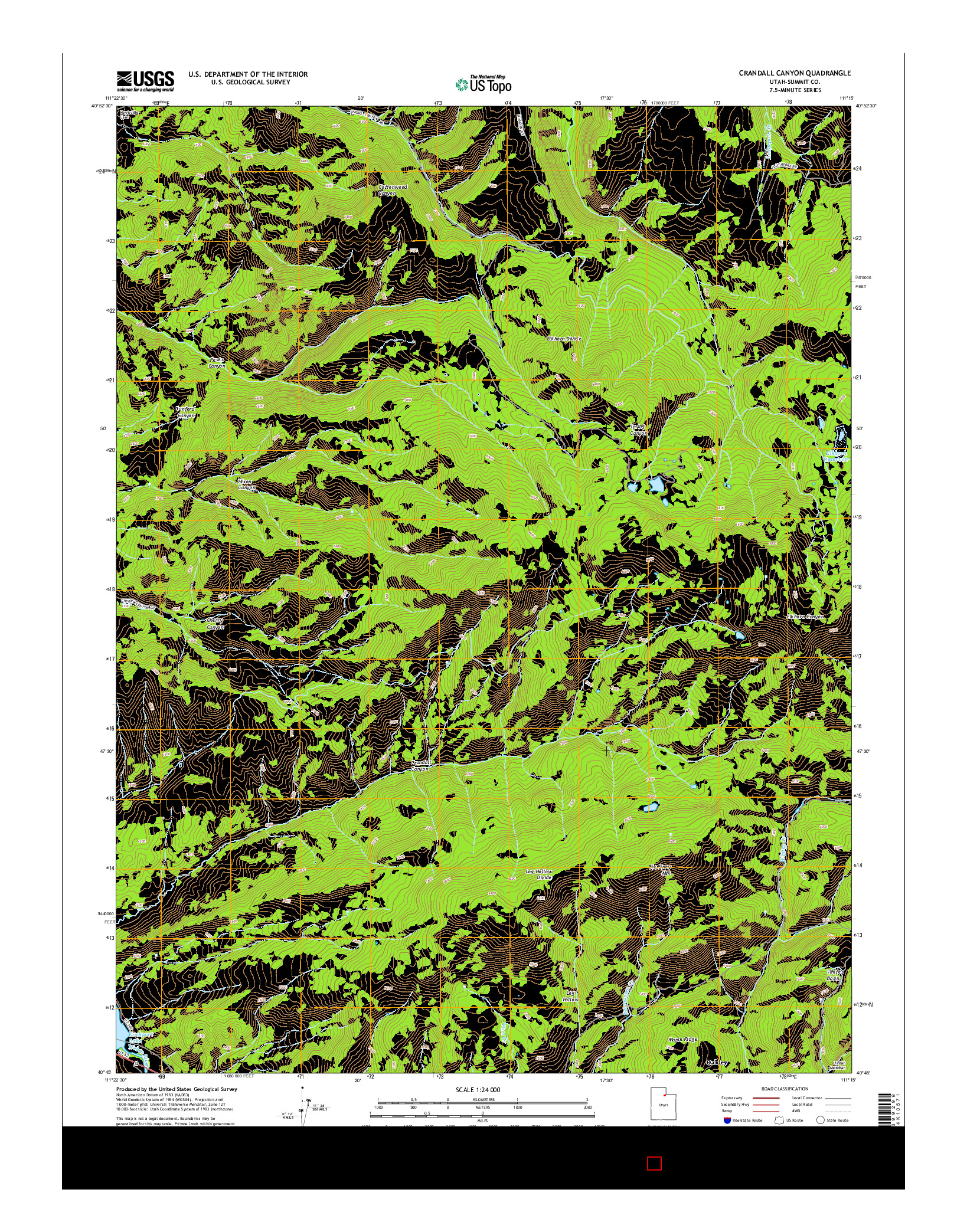 USGS US TOPO 7.5-MINUTE MAP FOR CRANDALL CANYON, UT 2014