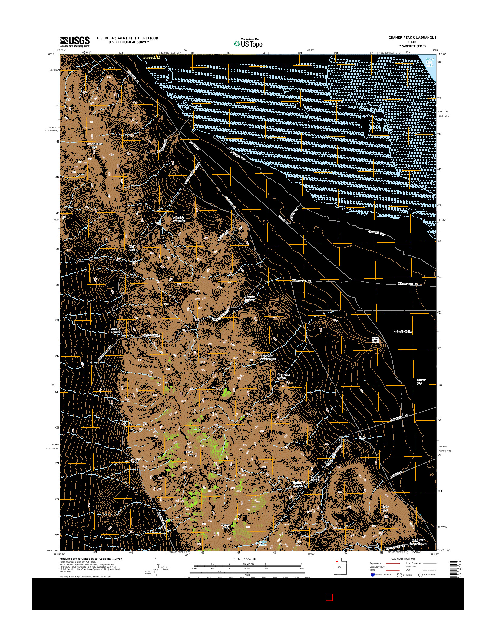 USGS US TOPO 7.5-MINUTE MAP FOR CRANER PEAK, UT 2014
