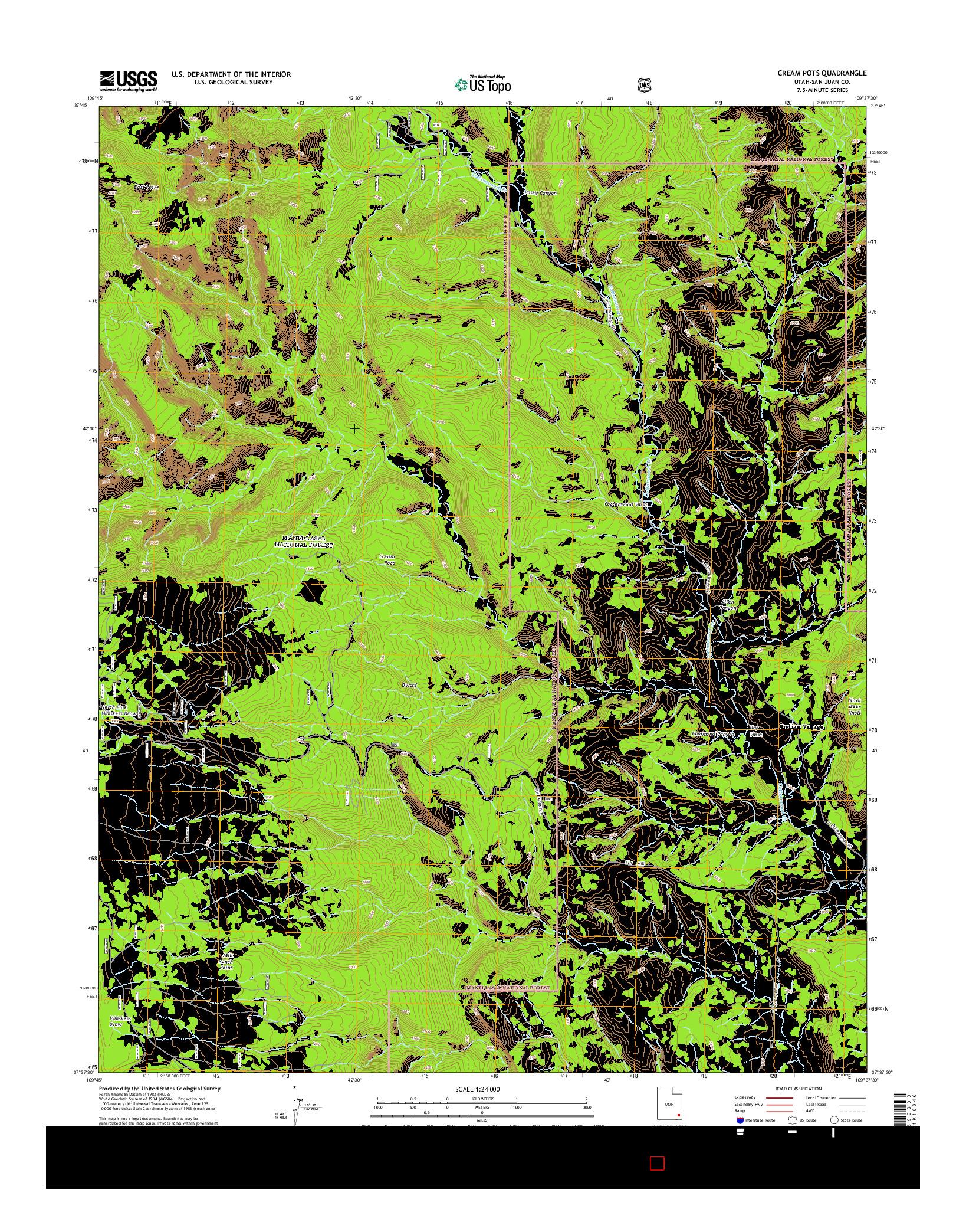 USGS US TOPO 7.5-MINUTE MAP FOR CREAM POTS, UT 2014