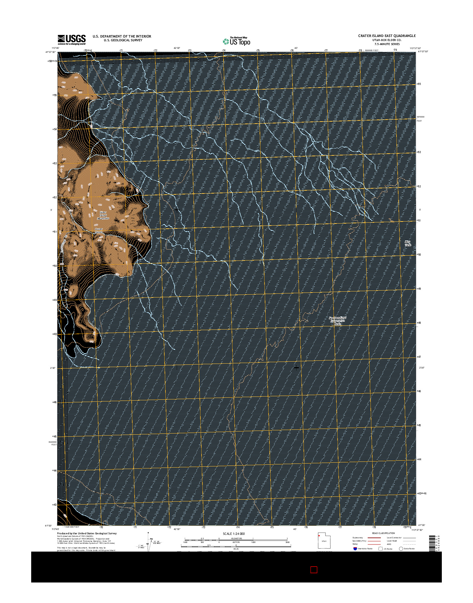 USGS US TOPO 7.5-MINUTE MAP FOR CRATER ISLAND EAST, UT 2014