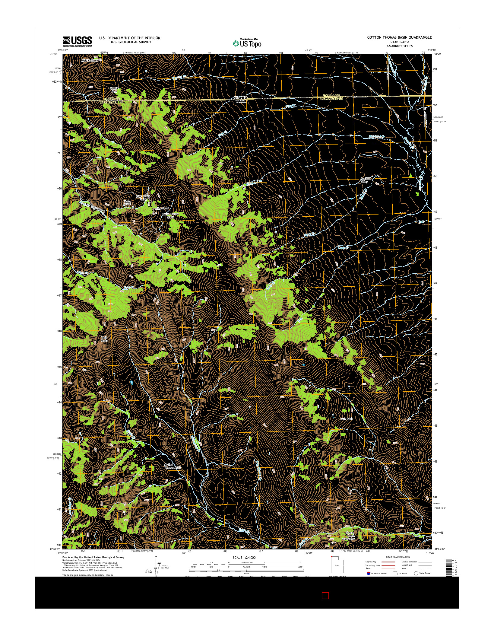 USGS US TOPO 7.5-MINUTE MAP FOR COTTON THOMAS BASIN, UT-ID 2014