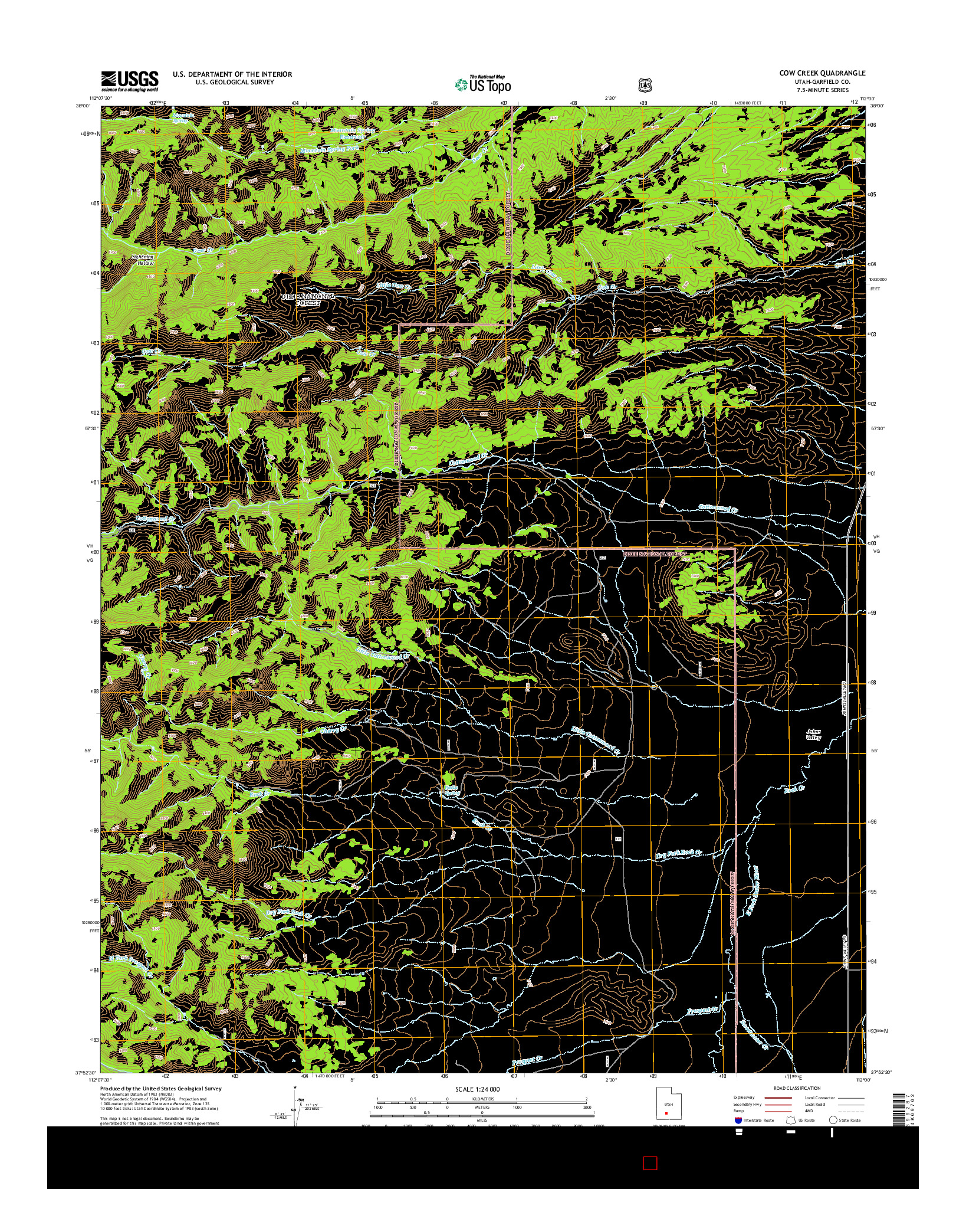 USGS US TOPO 7.5-MINUTE MAP FOR COW CREEK, UT 2014