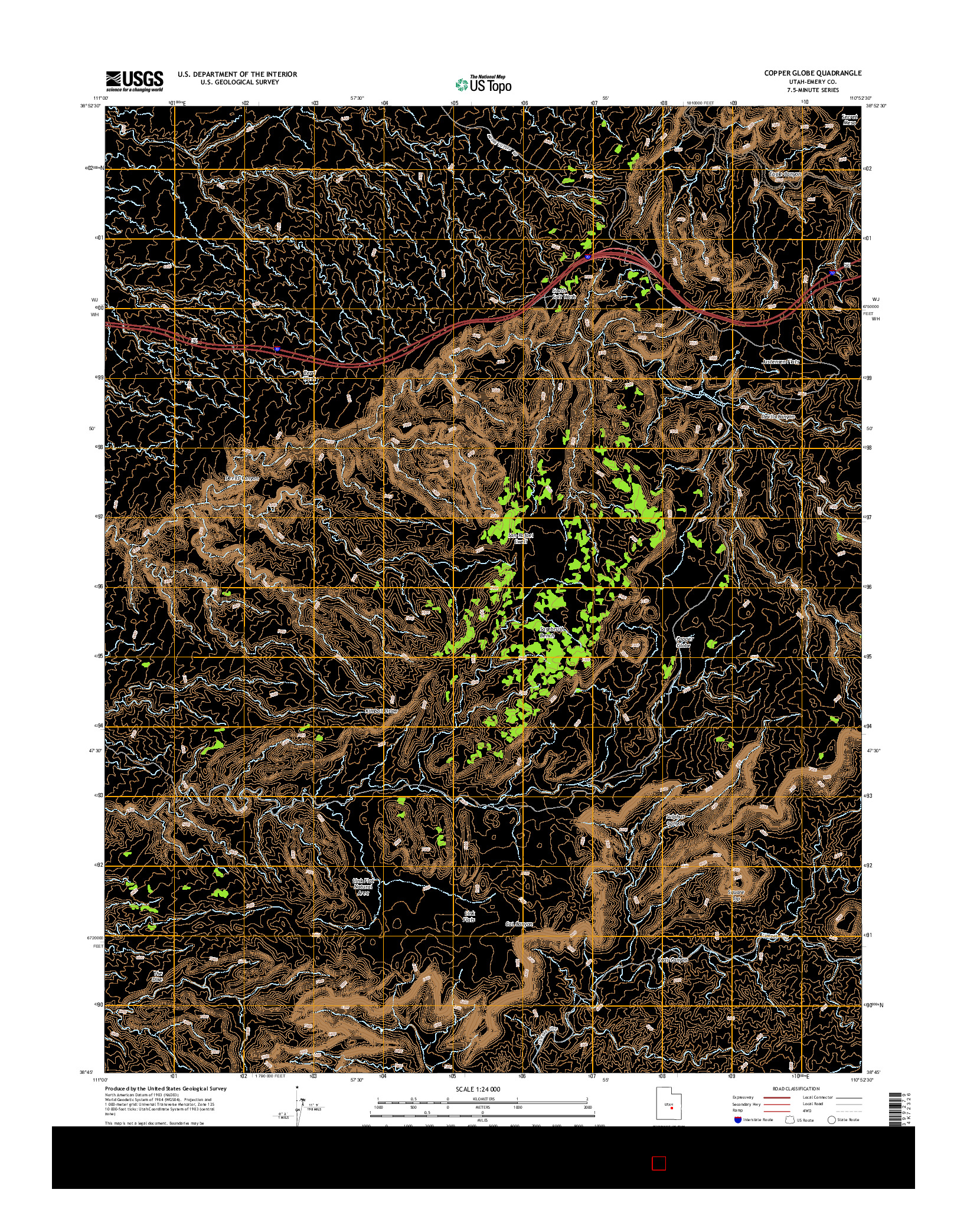 USGS US TOPO 7.5-MINUTE MAP FOR COPPER GLOBE, UT 2014