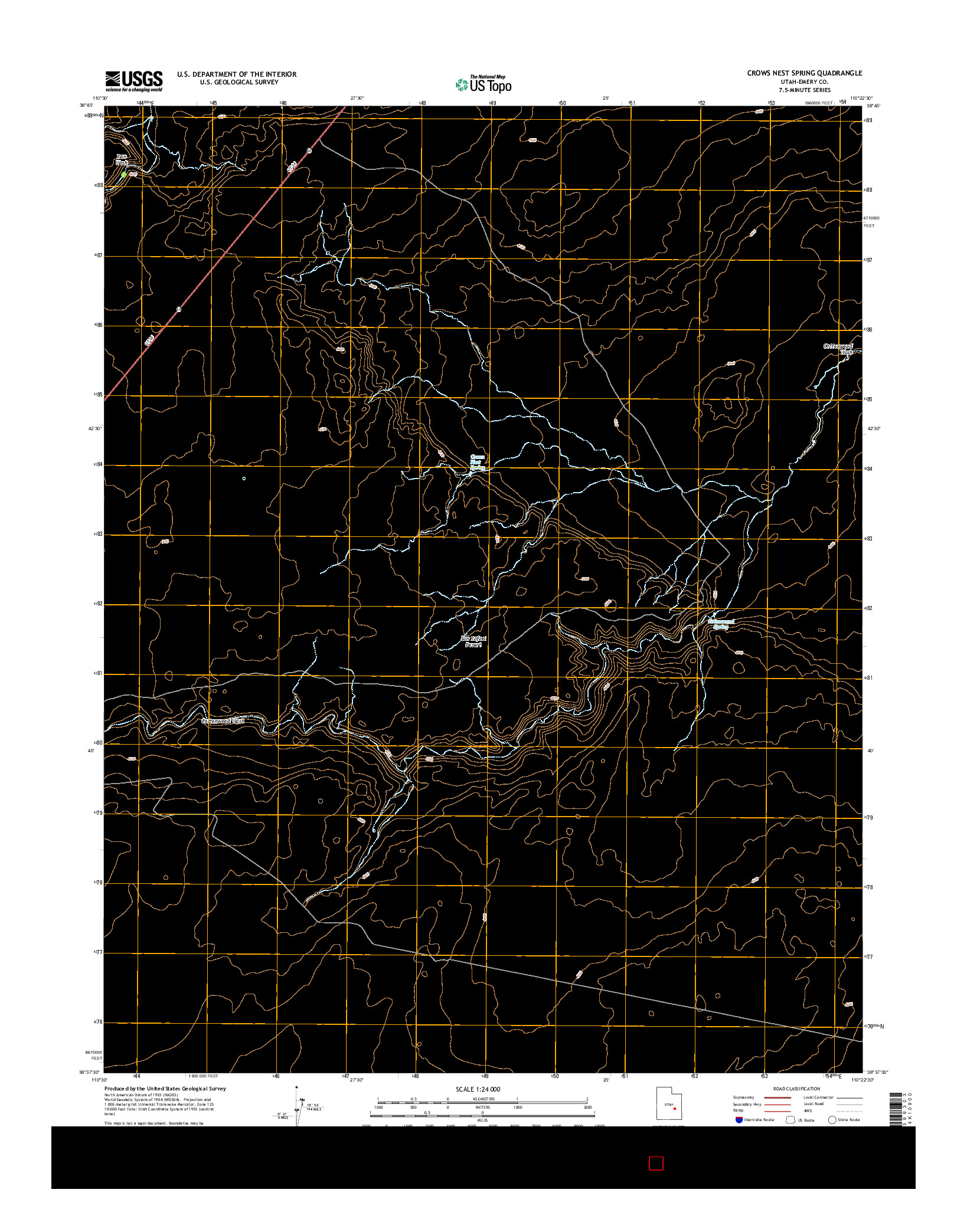 USGS US TOPO 7.5-MINUTE MAP FOR CROWS NEST SPRING, UT 2014