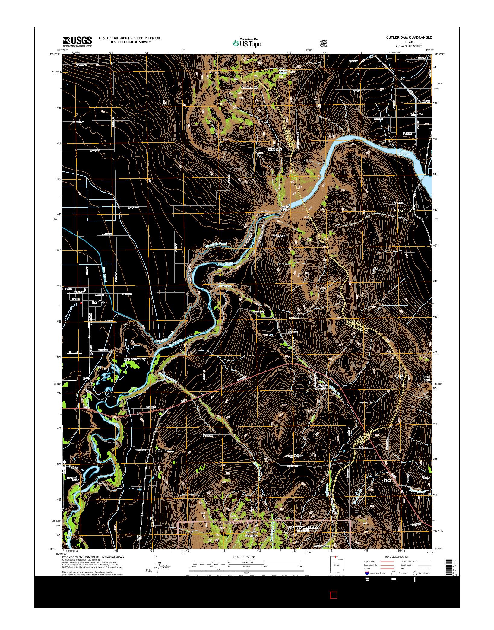 USGS US TOPO 7.5-MINUTE MAP FOR CUTLER DAM, UT 2014