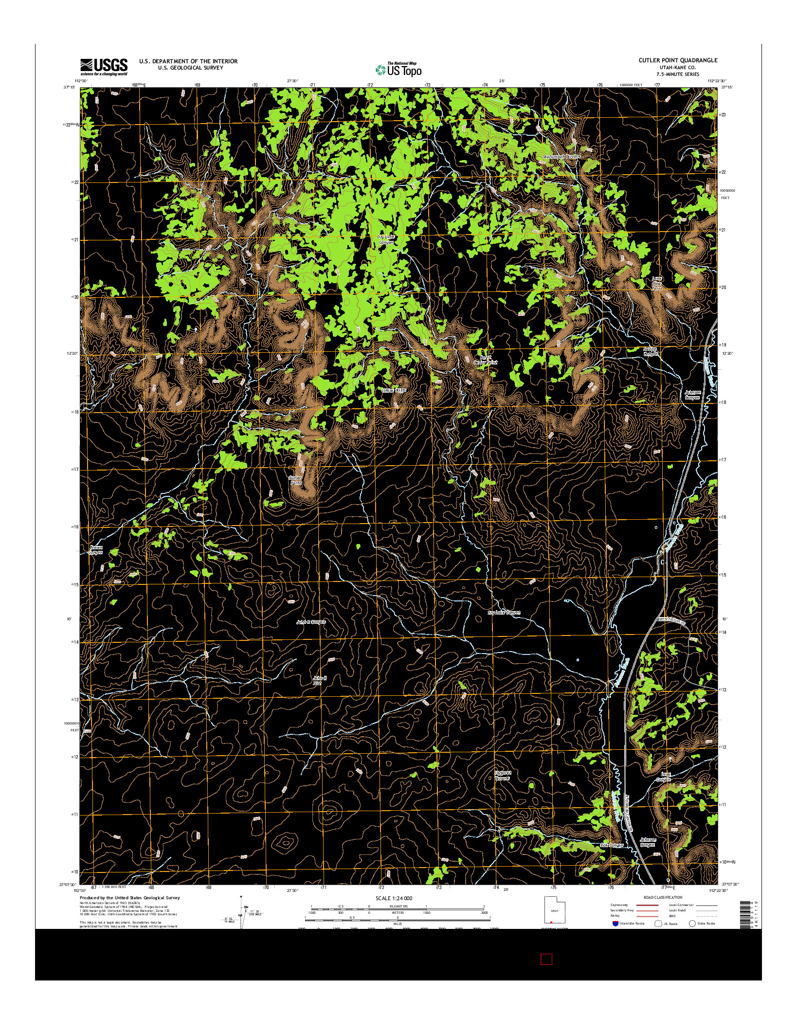 USGS US TOPO 7.5-MINUTE MAP FOR CUTLER POINT, UT 2014