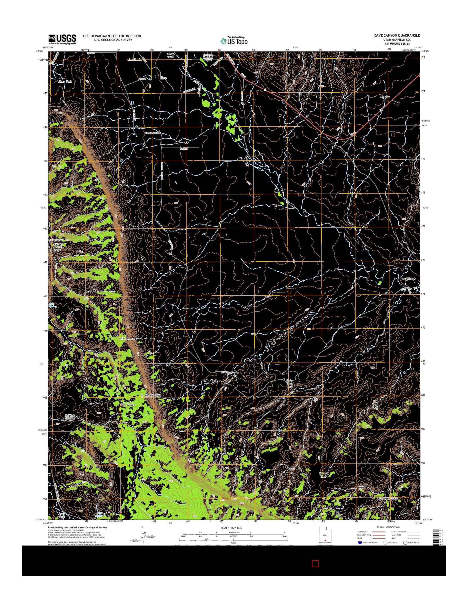 USGS US TOPO 7.5-MINUTE MAP FOR DAVE CANYON, UT 2014