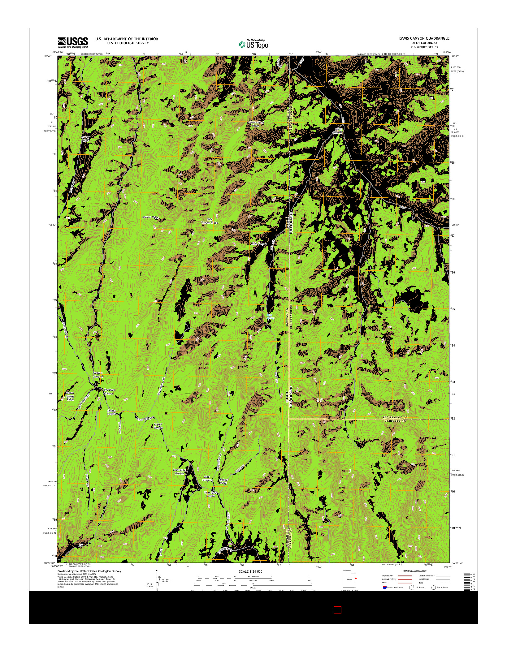 USGS US TOPO 7.5-MINUTE MAP FOR DAVIS CANYON, UT-CO 2014