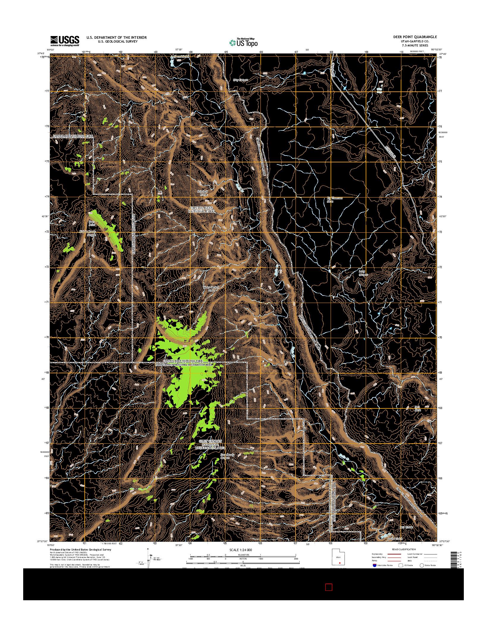 USGS US TOPO 7.5-MINUTE MAP FOR DEER POINT, UT 2014