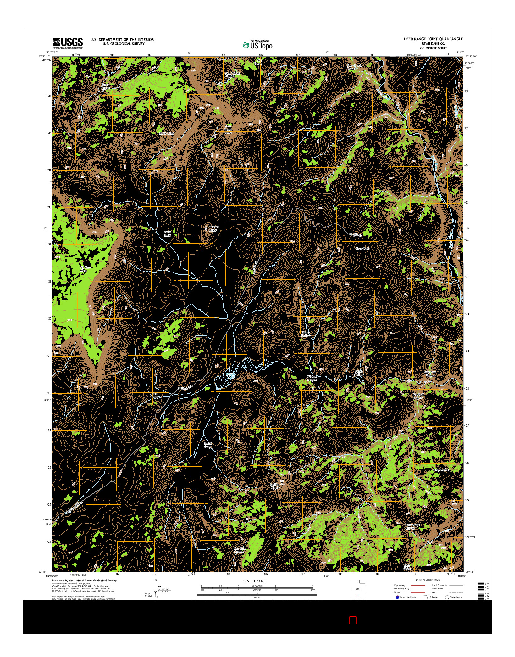 USGS US TOPO 7.5-MINUTE MAP FOR DEER RANGE POINT, UT 2014