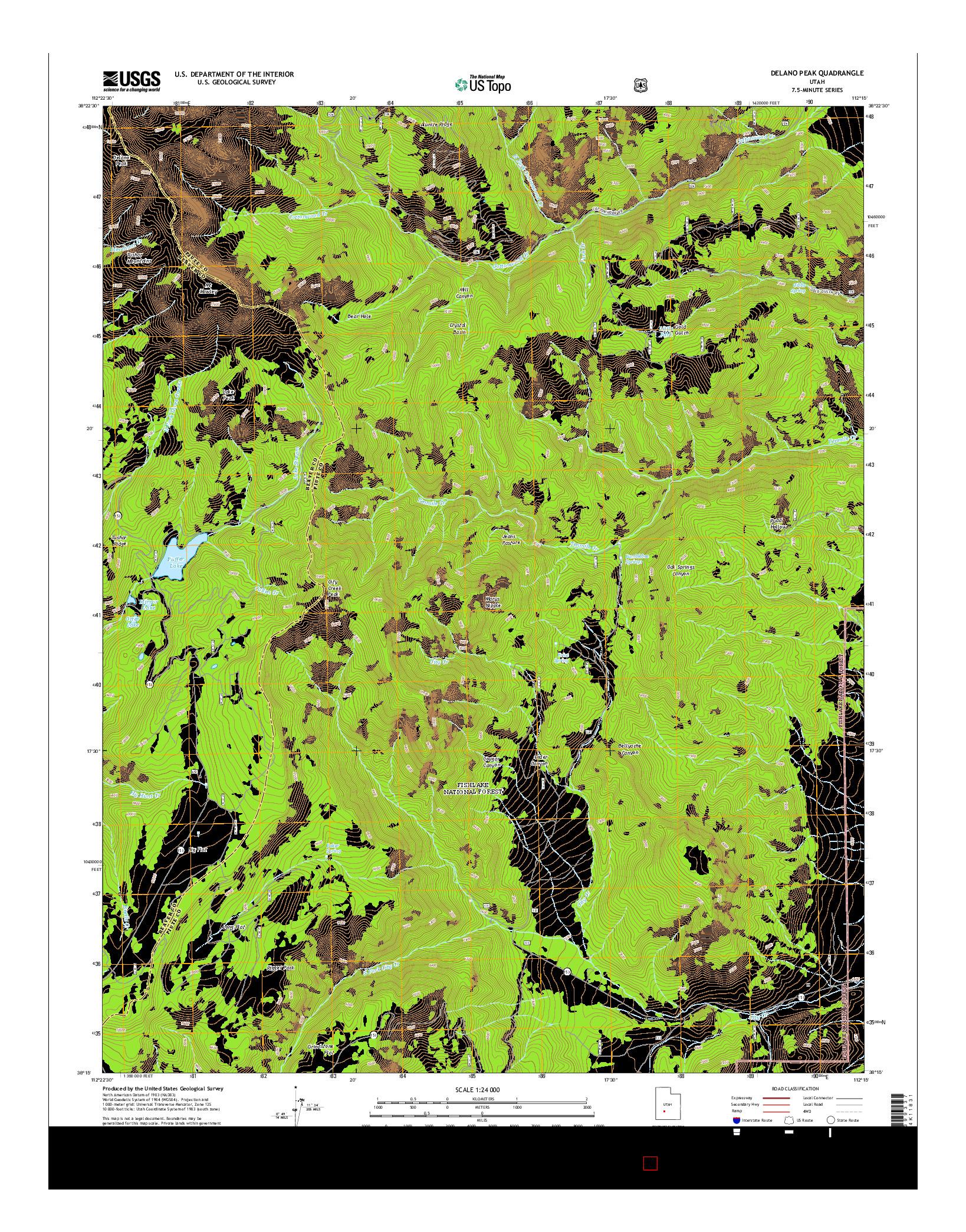 USGS US TOPO 7.5-MINUTE MAP FOR DELANO PEAK, UT 2014