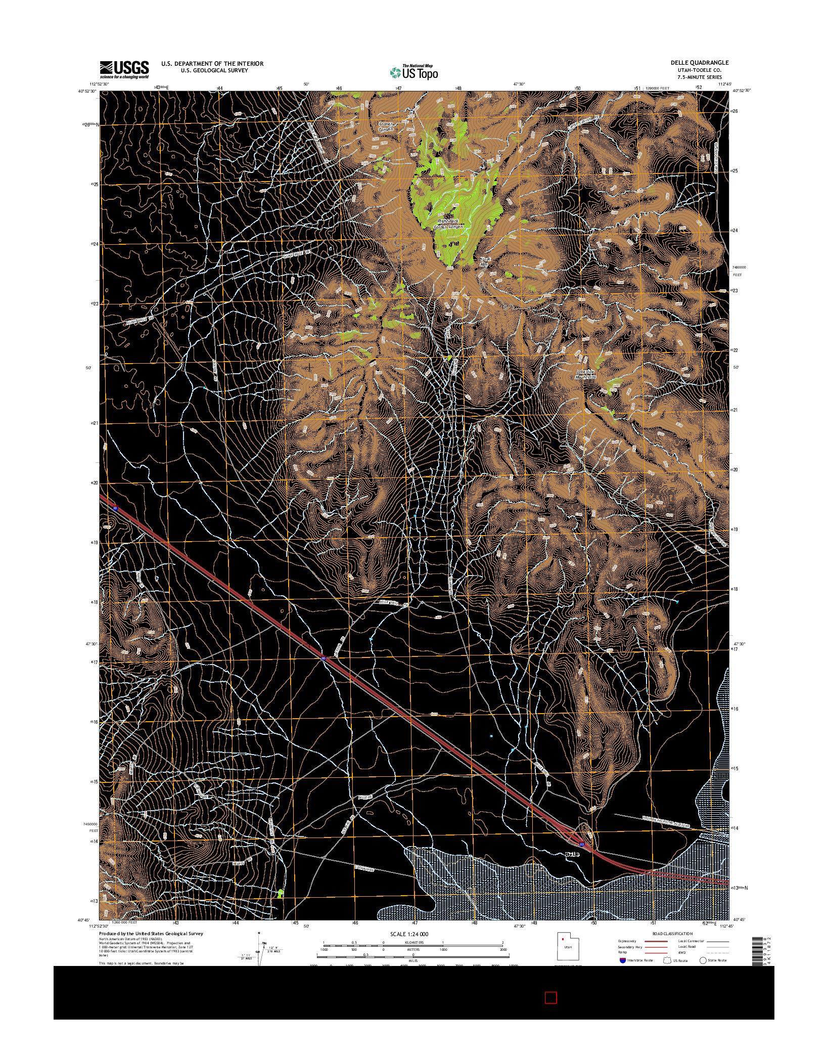 USGS US TOPO 7.5-MINUTE MAP FOR DELLE, UT 2014