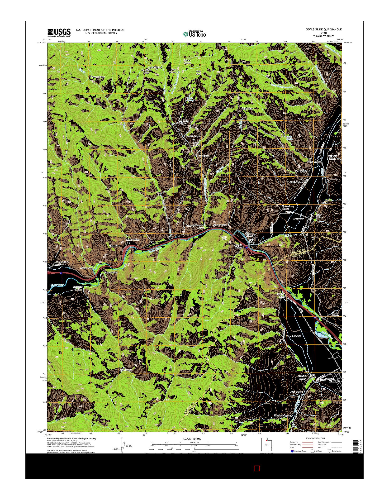 USGS US TOPO 7.5-MINUTE MAP FOR DEVILS SLIDE, UT 2014