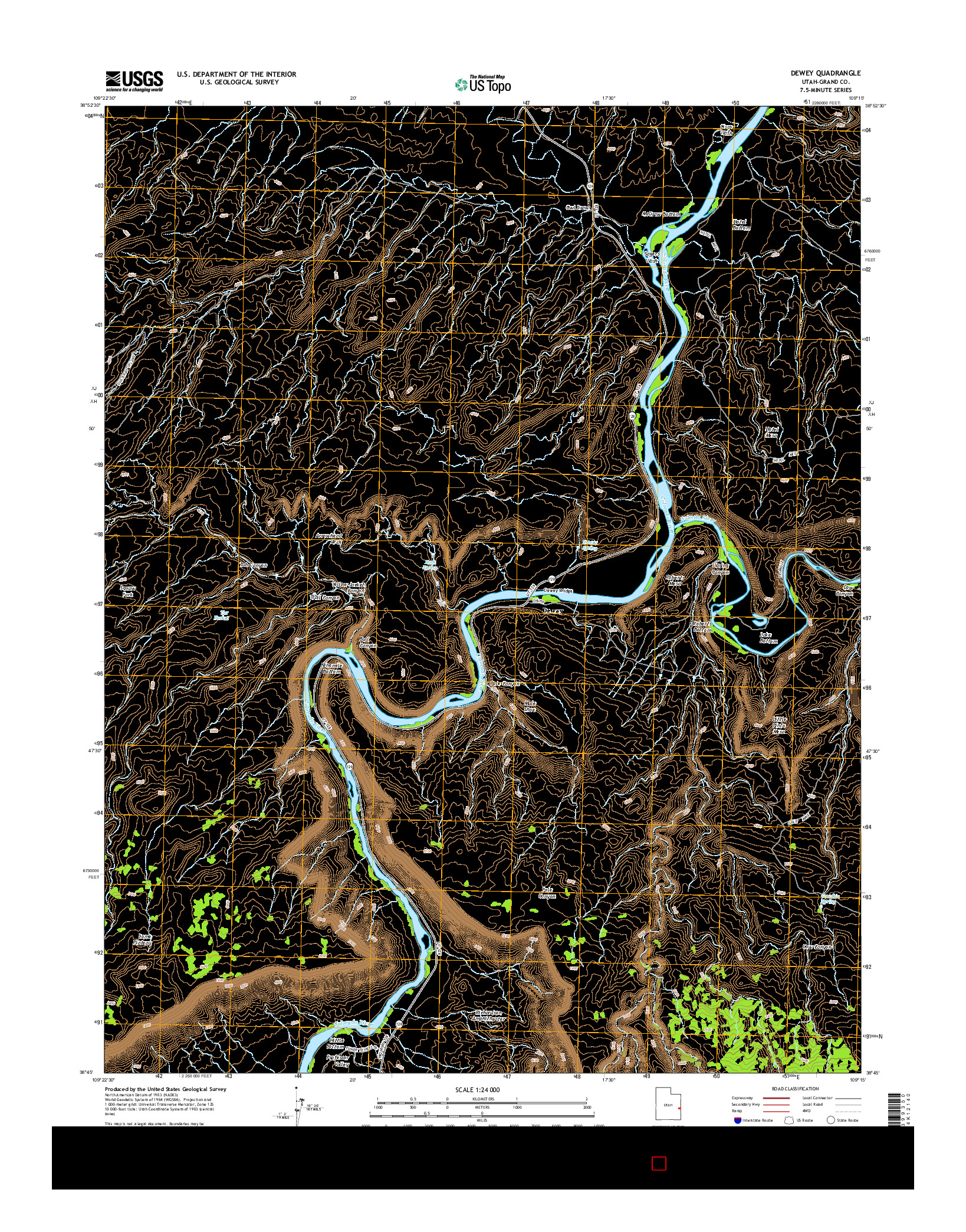 USGS US TOPO 7.5-MINUTE MAP FOR DEWEY, UT 2014