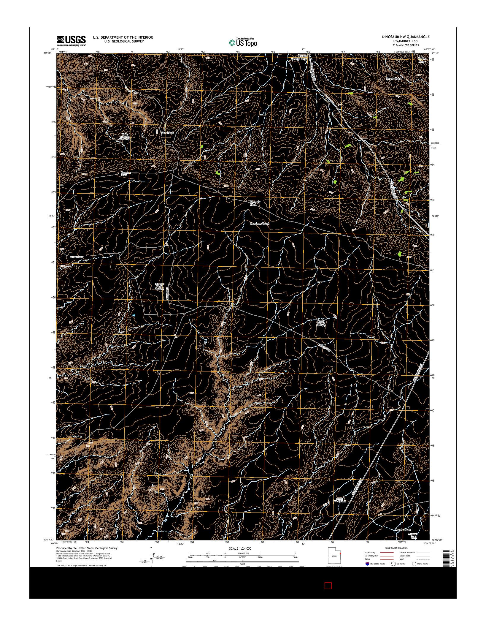 USGS US TOPO 7.5-MINUTE MAP FOR DINOSAUR NW, UT 2014