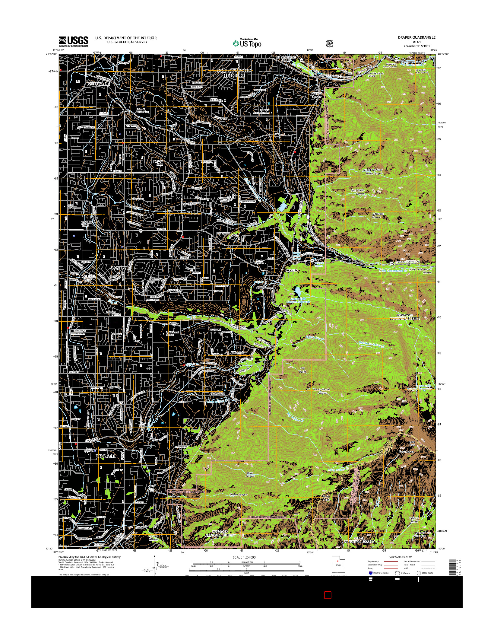 USGS US TOPO 7.5-MINUTE MAP FOR DRAPER, UT 2014