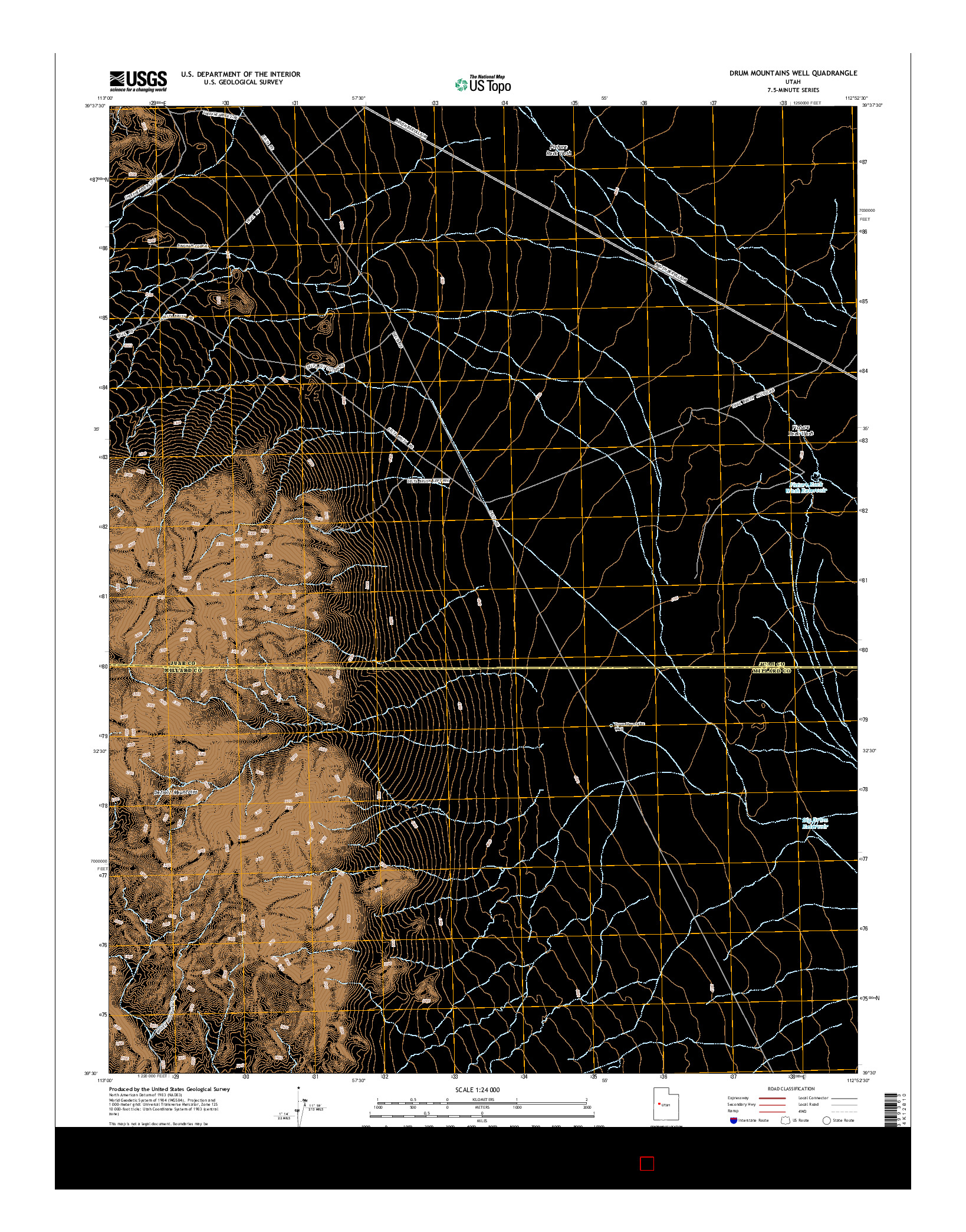 USGS US TOPO 7.5-MINUTE MAP FOR DRUM MOUNTAINS WELL, UT 2014