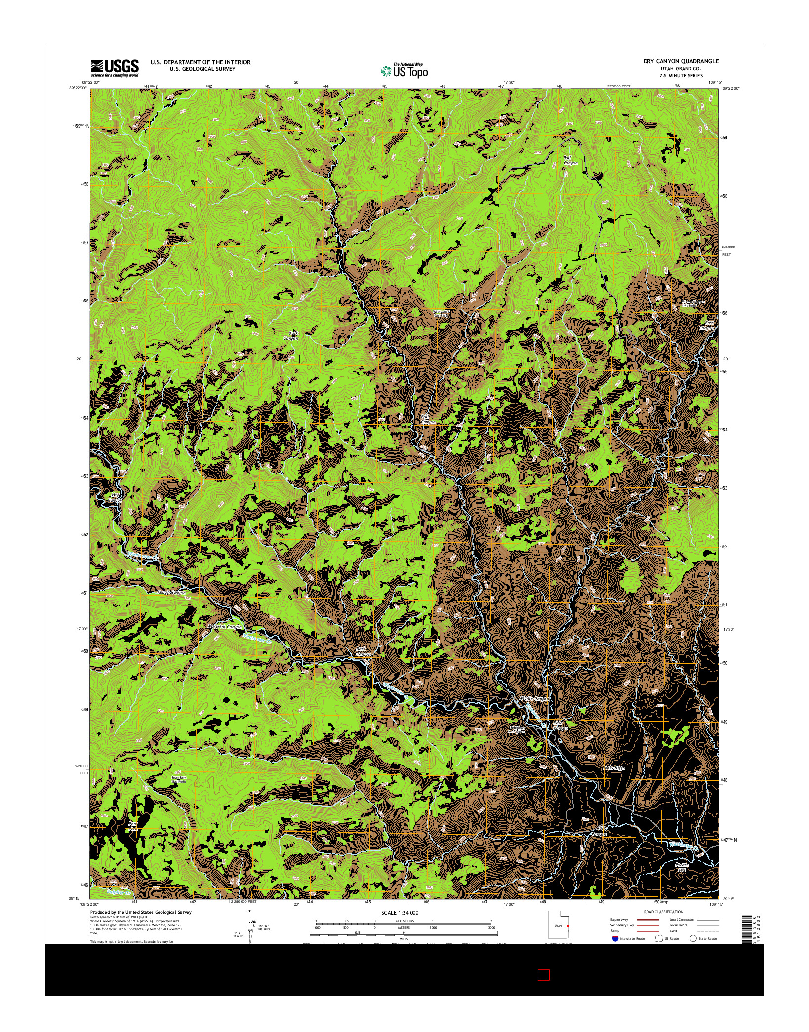 USGS US TOPO 7.5-MINUTE MAP FOR DRY CANYON, UT 2014