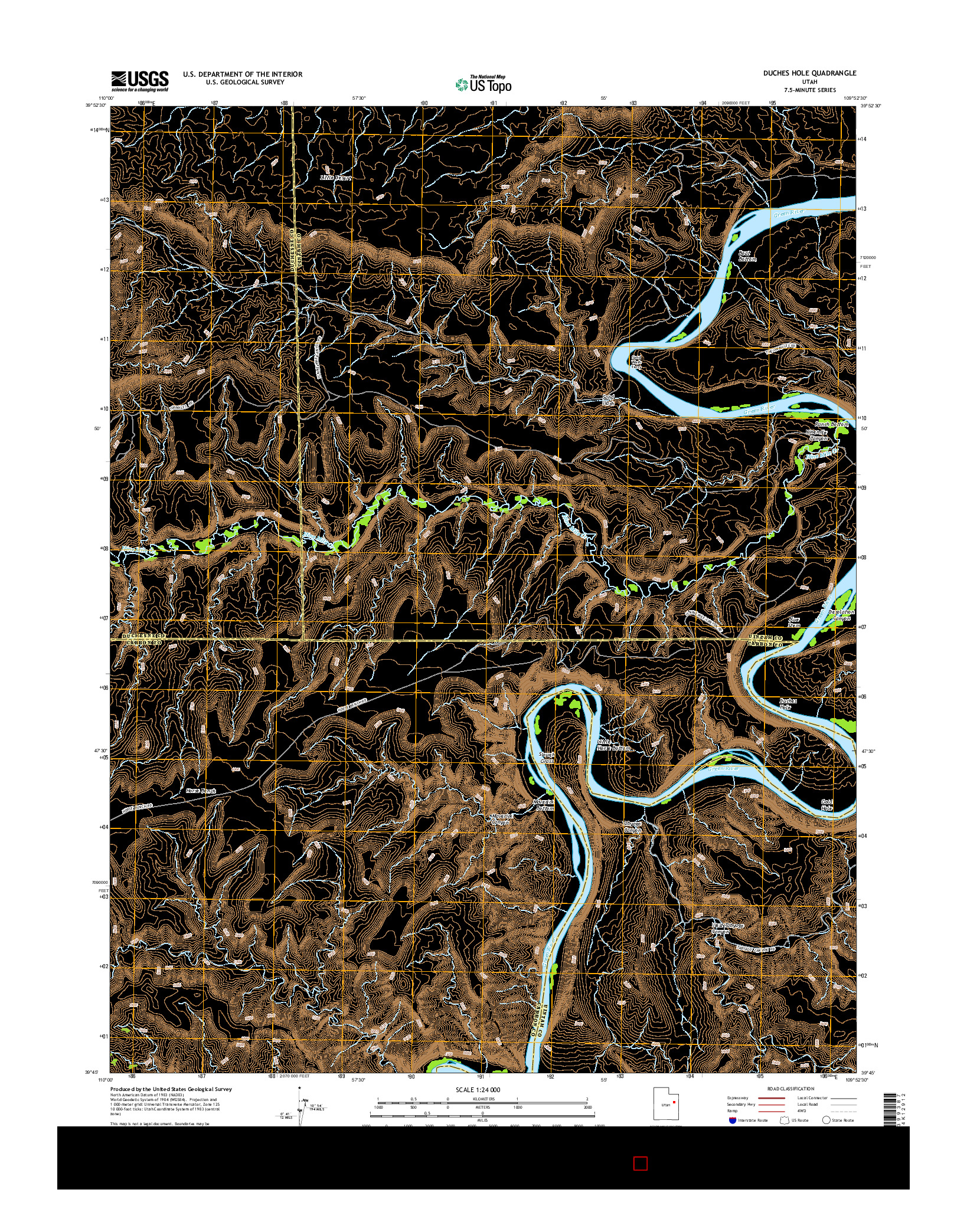 USGS US TOPO 7.5-MINUTE MAP FOR DUCHES HOLE, UT 2014