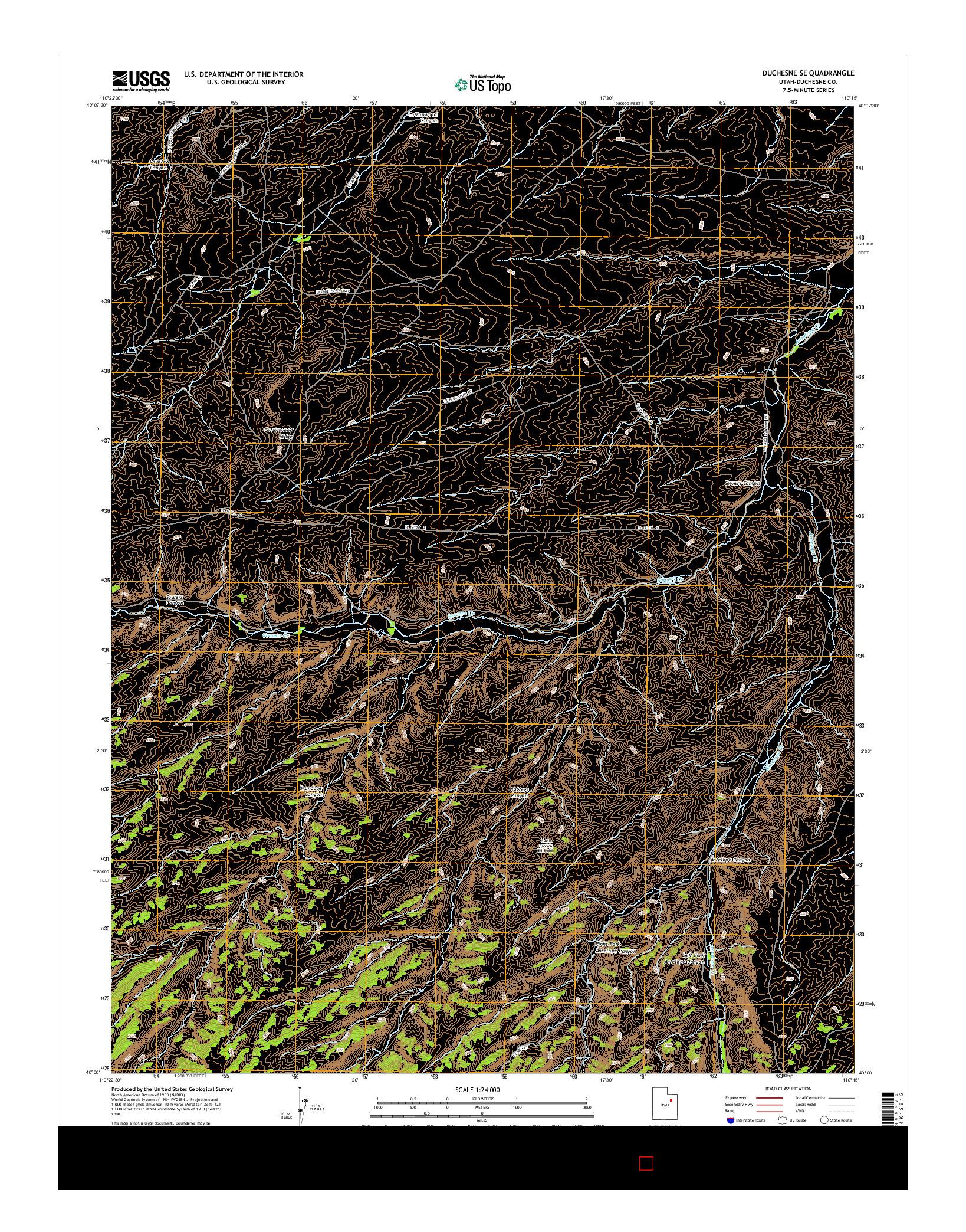 USGS US TOPO 7.5-MINUTE MAP FOR DUCHESNE SE, UT 2014