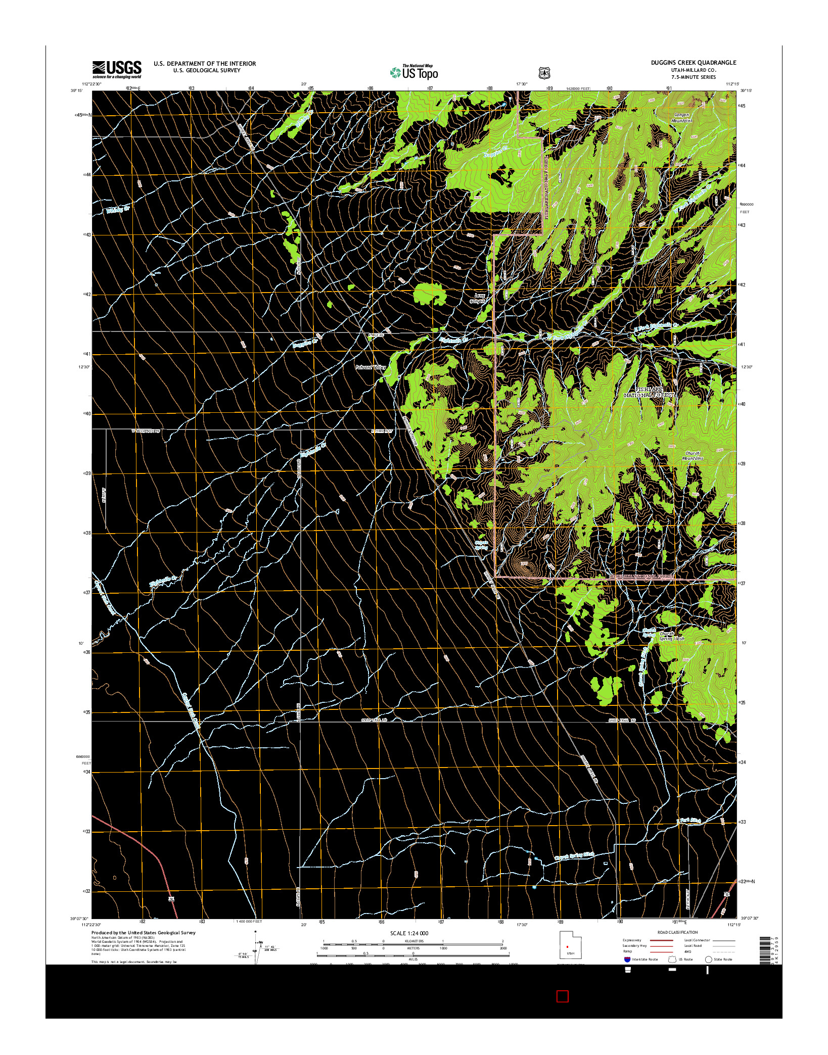 USGS US TOPO 7.5-MINUTE MAP FOR DUGGINS CREEK, UT 2014