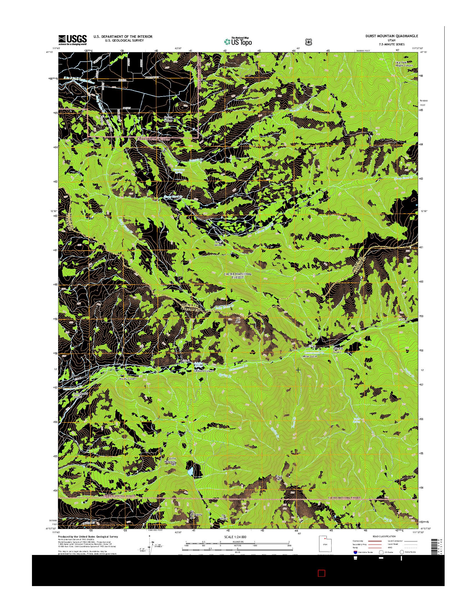 USGS US TOPO 7.5-MINUTE MAP FOR DURST MOUNTAIN, UT 2014