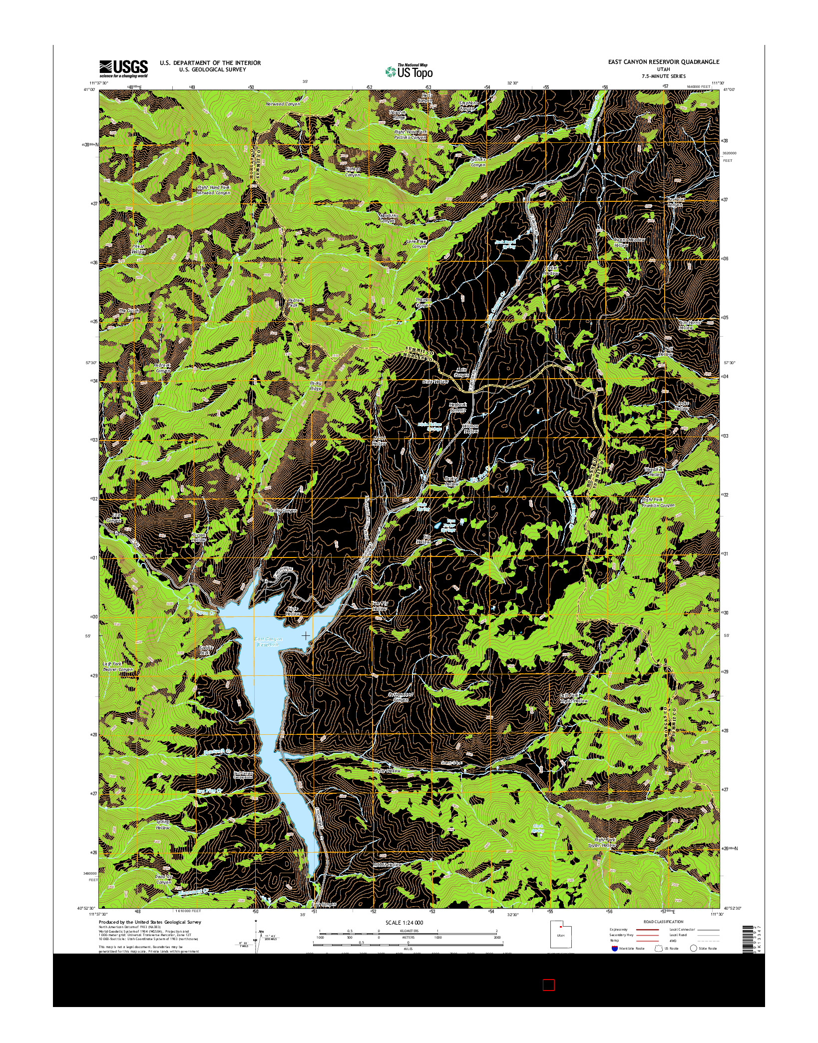 USGS US TOPO 7.5-MINUTE MAP FOR EAST CANYON RESERVOIR, UT 2014