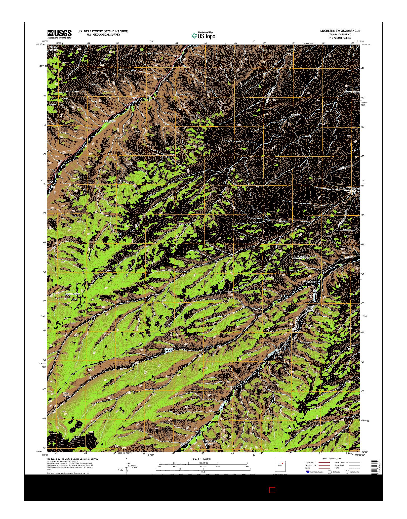 USGS US TOPO 7.5-MINUTE MAP FOR DUCHESNE SW, UT 2014