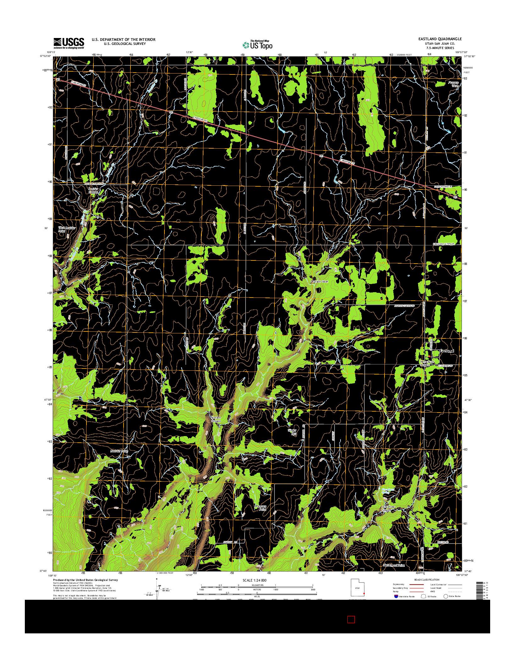 USGS US TOPO 7.5-MINUTE MAP FOR EASTLAND, UT 2014