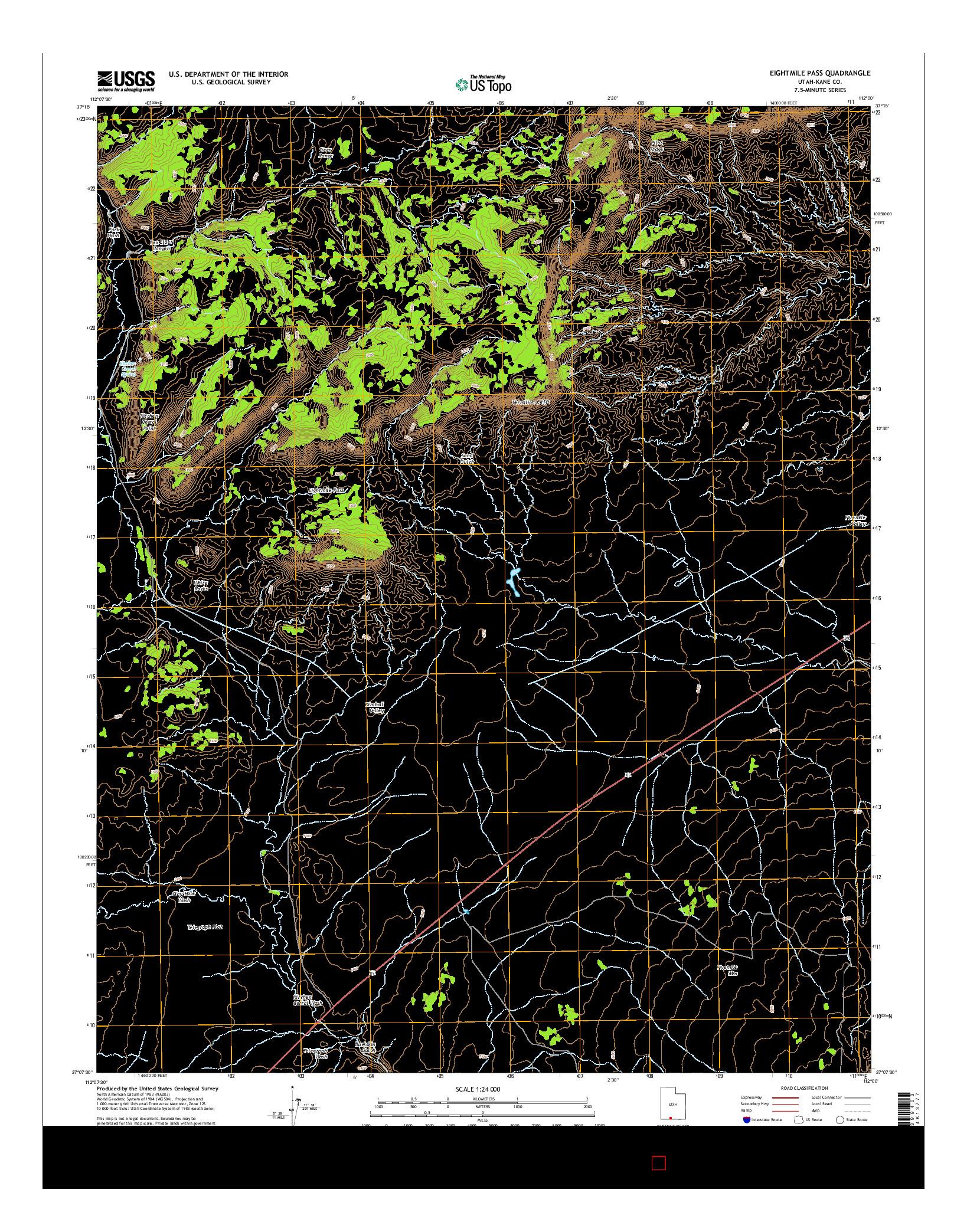 USGS US TOPO 7.5-MINUTE MAP FOR EIGHTMILE PASS, UT 2014