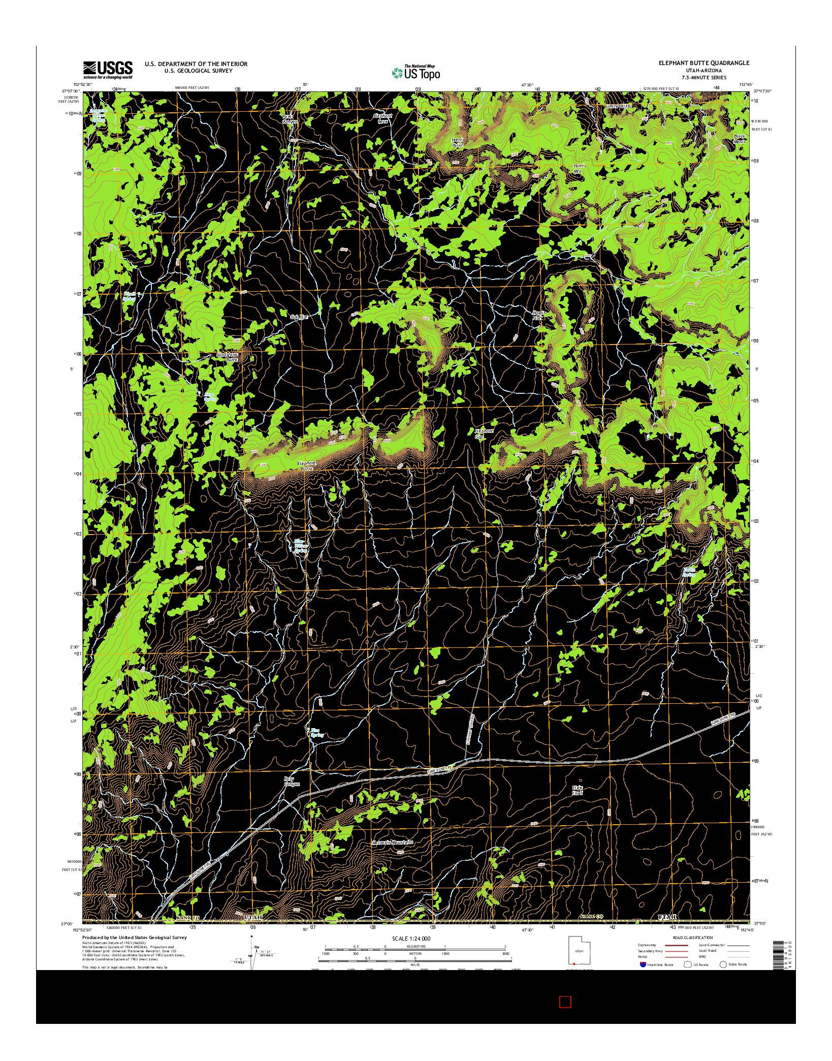 USGS US TOPO 7.5-MINUTE MAP FOR ELEPHANT BUTTE, UT-AZ 2014