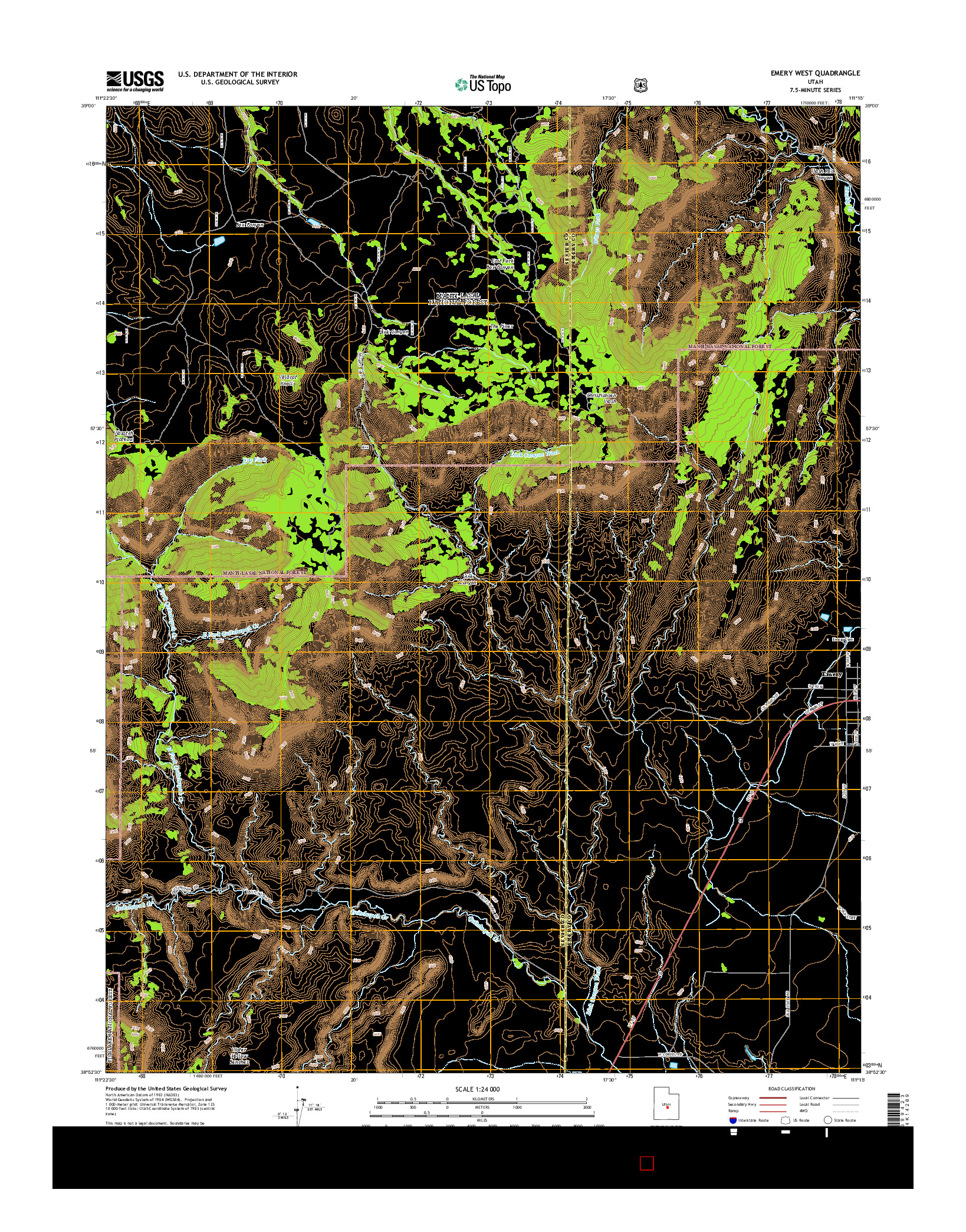 USGS US TOPO 7.5-MINUTE MAP FOR EMERY WEST, UT 2014