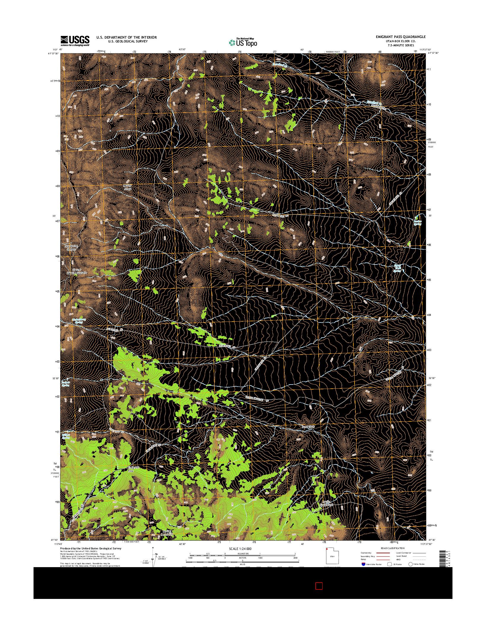USGS US TOPO 7.5-MINUTE MAP FOR EMIGRANT PASS, UT 2014